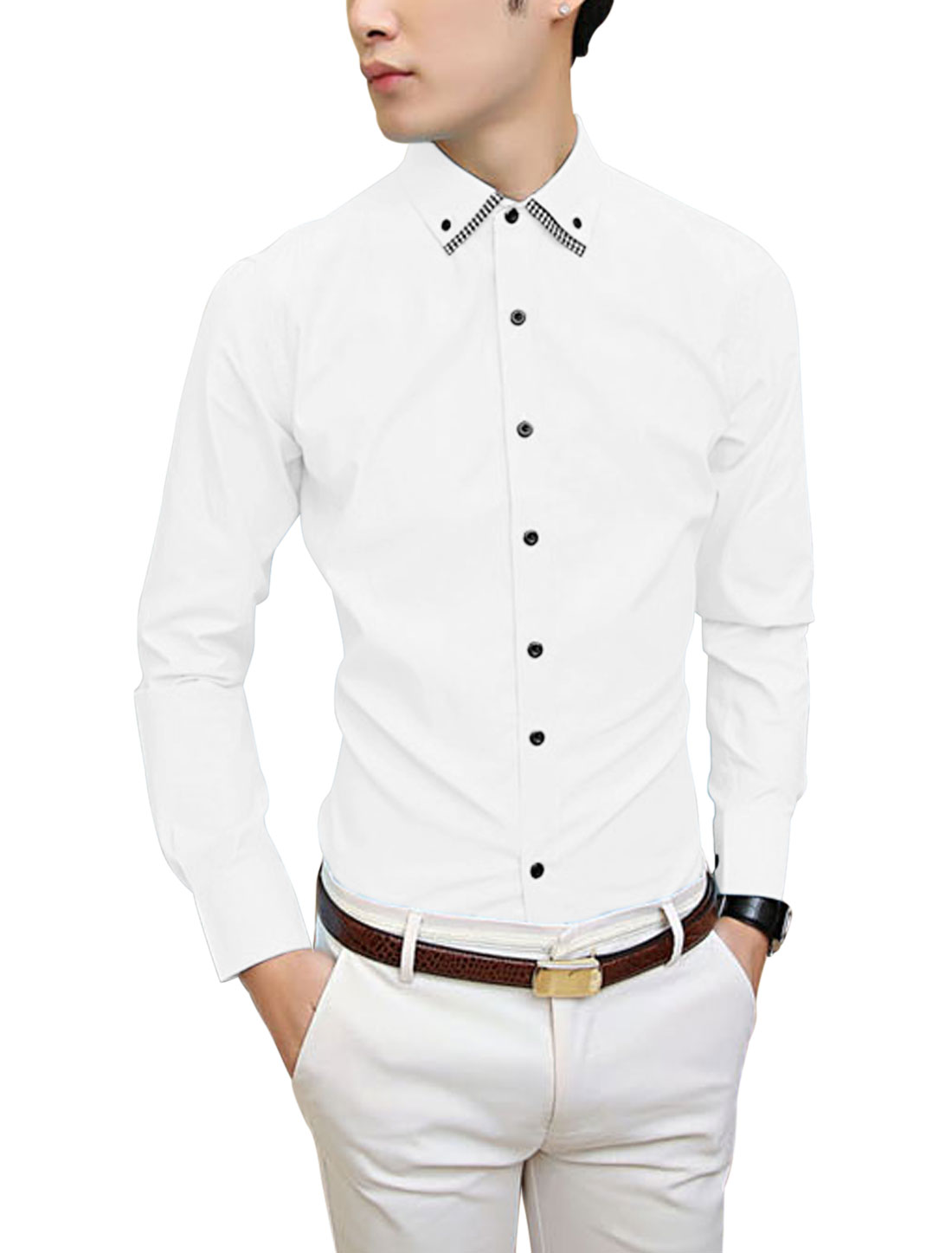 Point Collar Button Up Front Chic White Shirt for Men M