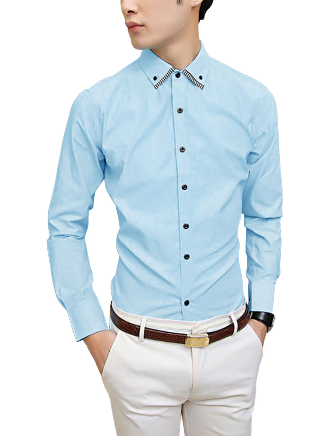 Single Breasted Point Collar Fashion Sky Blue Shirt for Man M