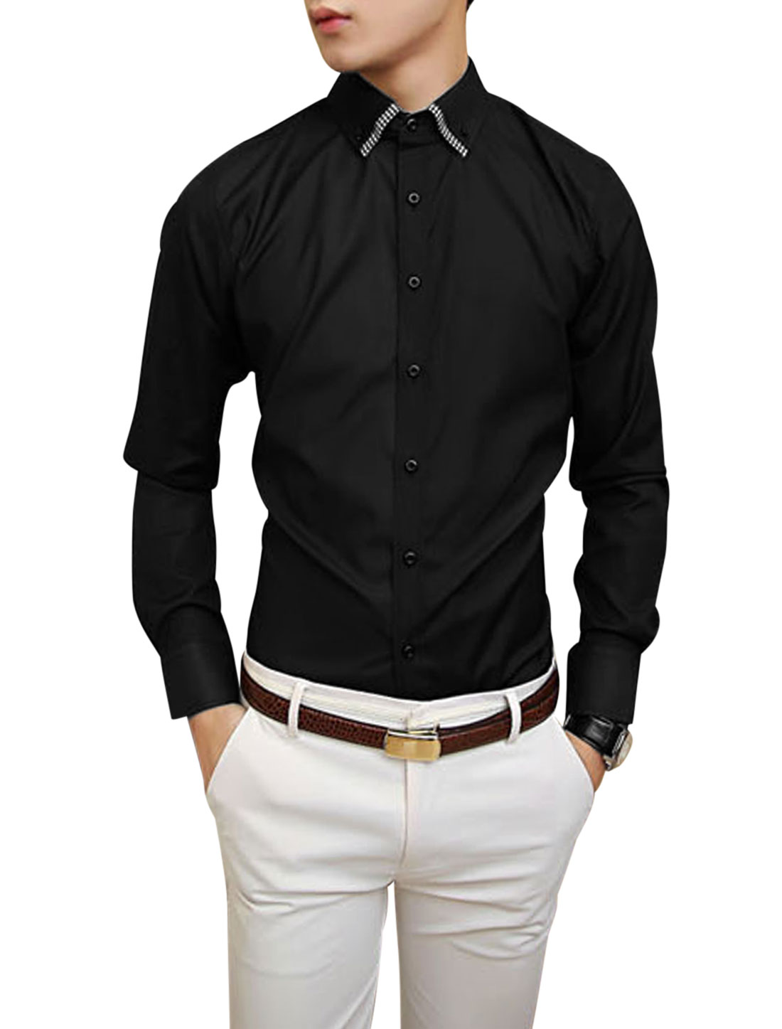 Man Fashion Design Full Sleeve Button Down Black Shirt M