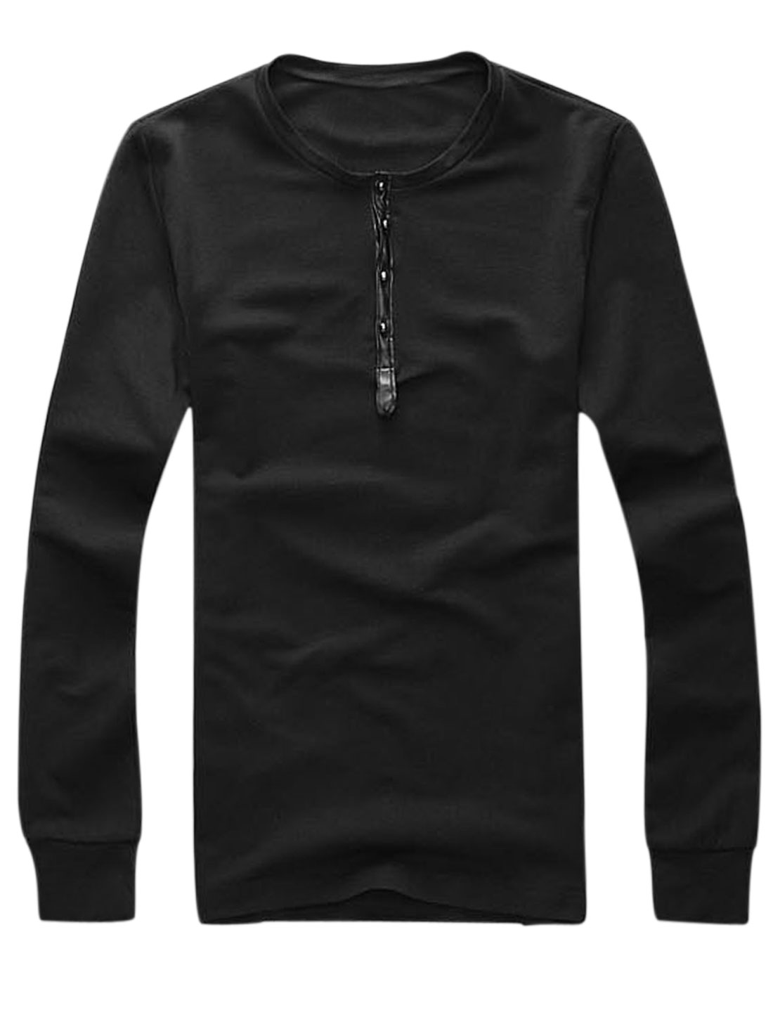 Men Studs Closed Design Casual Henley Shirt Black M