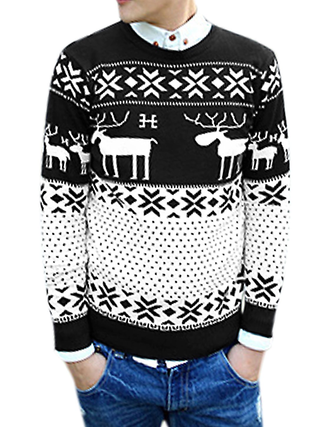 Men Deer Snowflake Dots Pattern Contrast Color Casual Sweater Black White M