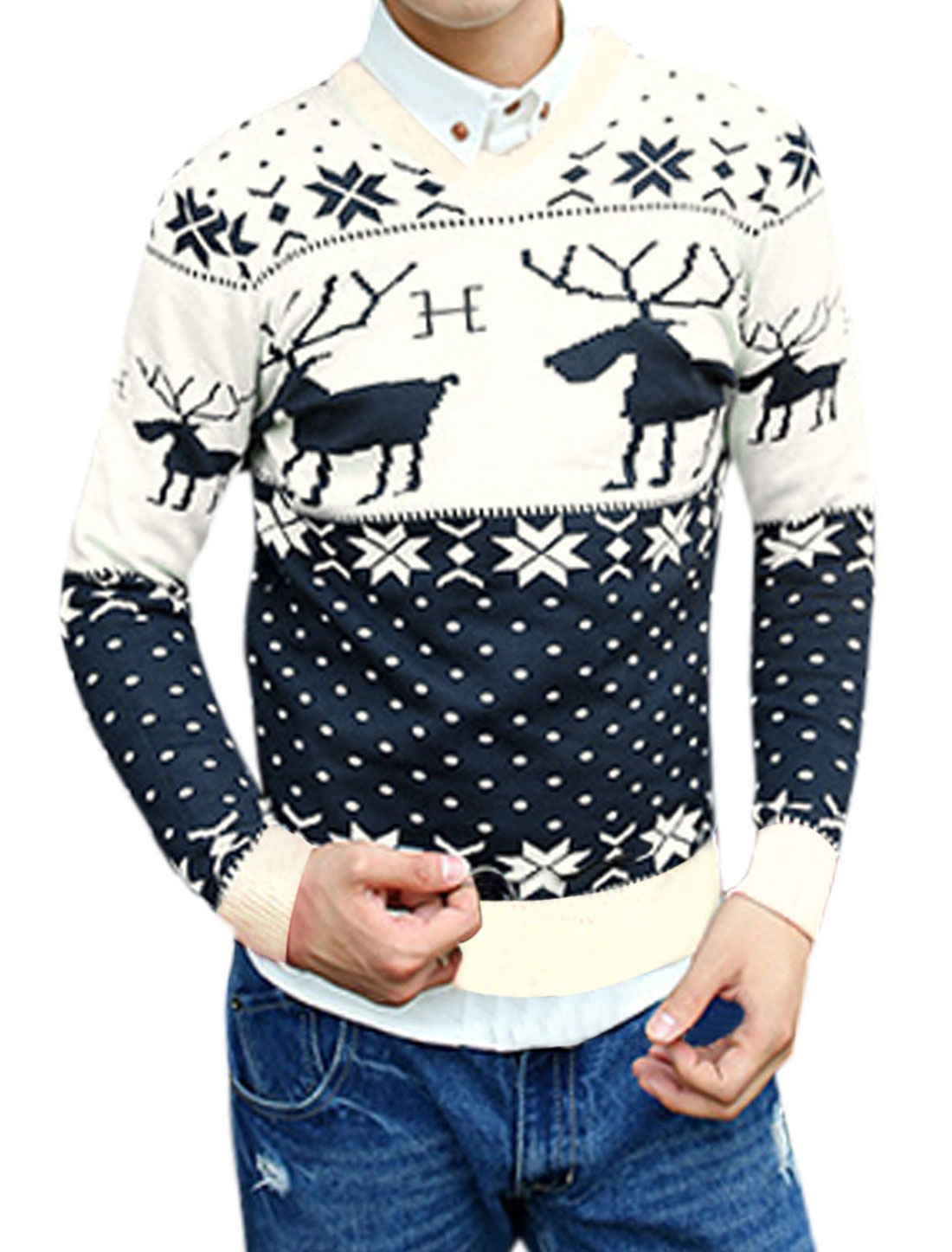 Men V Neck Deer Snowflake Dots Pattern Slim Casual Sweater Beige M