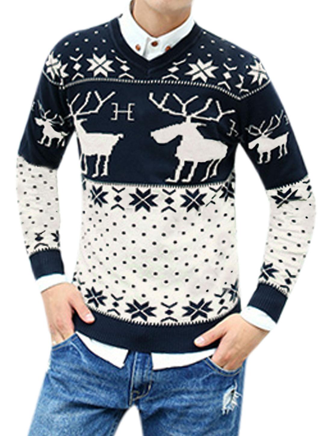 Men Pullover Deer Snowflake Dots Pattern Slim Casual Sweater Navy Blue M