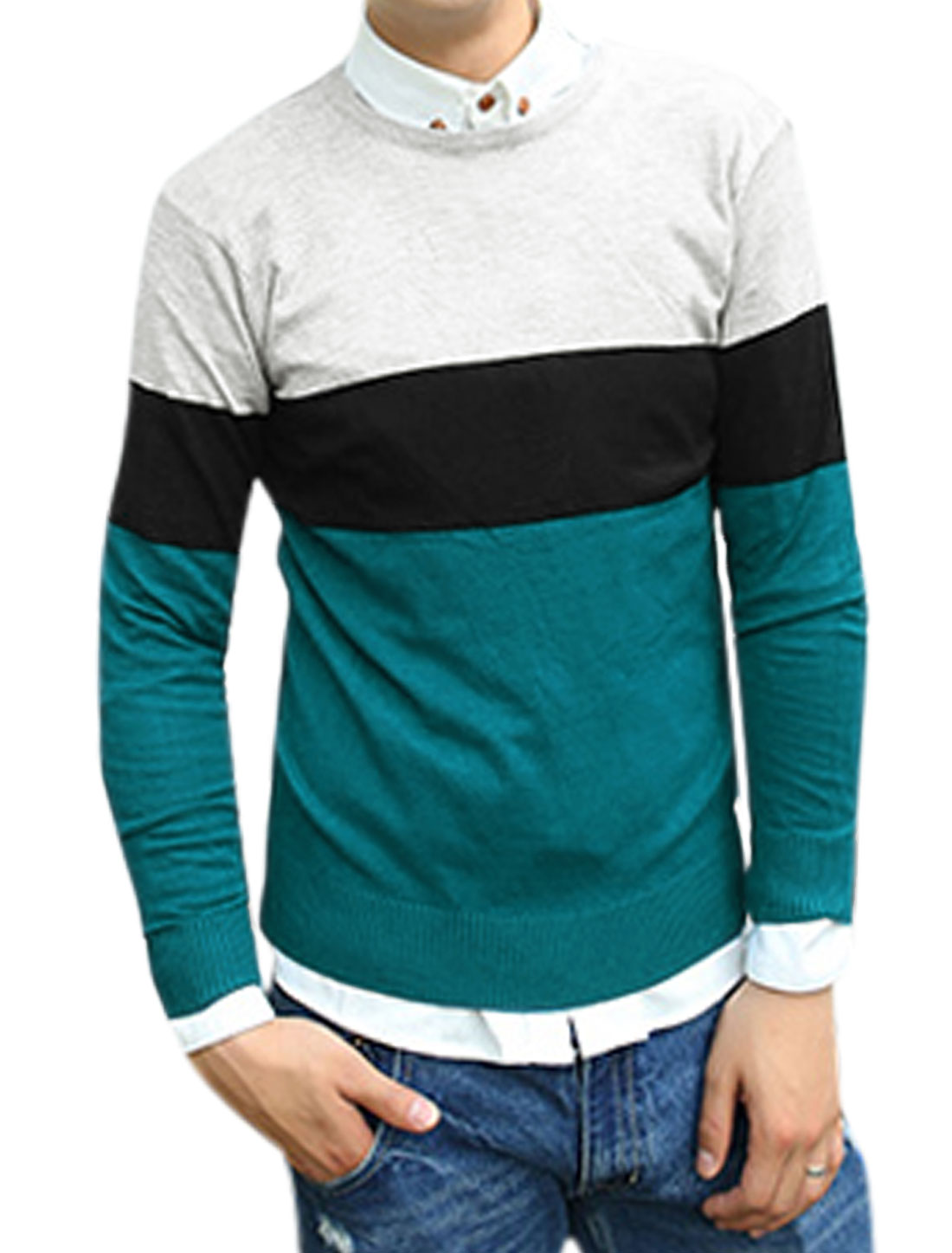 Men Contrast Color Crew Neck Long Sleeves Knit Shirt Turquoise Gray M