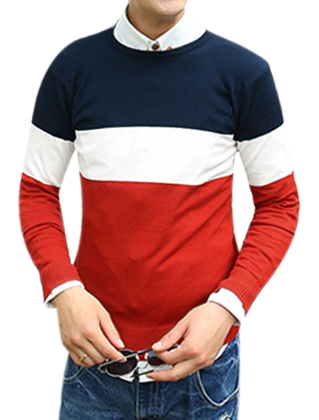 Color Block Long Sleeve Slipover Navy Blue Red Knit Shirt for Man M