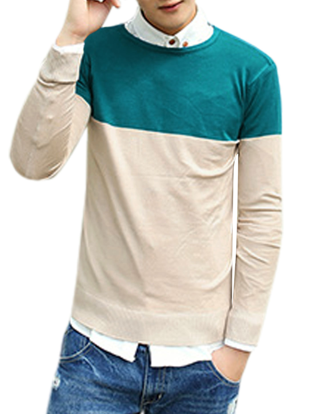 Men Round Neck Long Sleeves Color Block Knit Shirt Turquoise Beige M