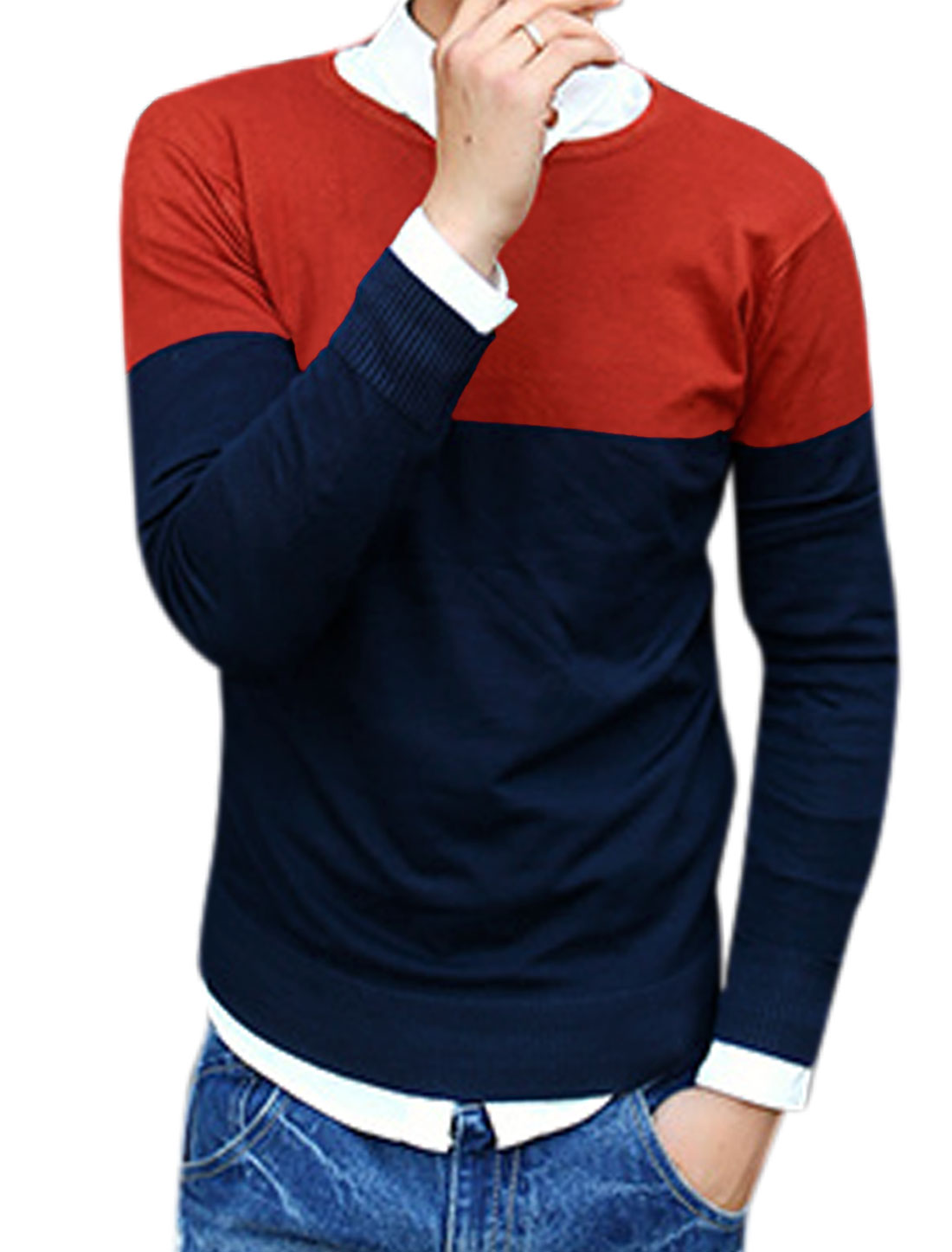 Man Fashion Contrast Color Slipover Slim Red Navy Blue Knit Shirt M