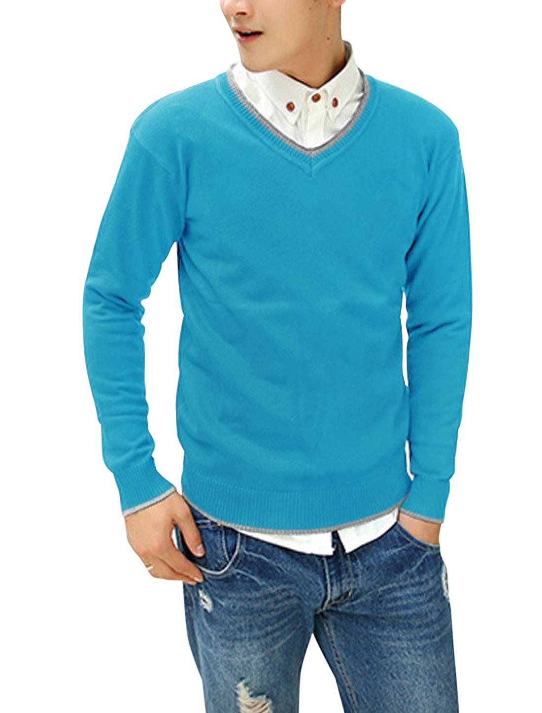Men V Neck Contrast Collar Ribbed Trim Casual Slim Fit Sweater Light Blue M