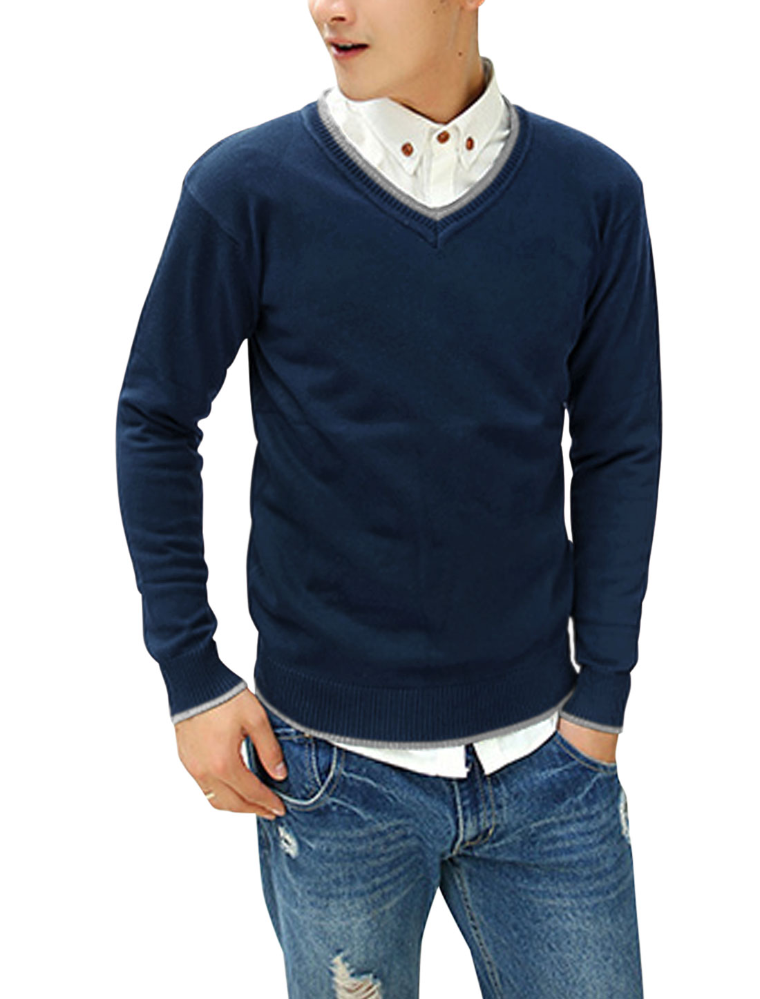 Men V Neck Contrast Collar Patched Detail Casual Cozy Fit Sweater Navy Blue M