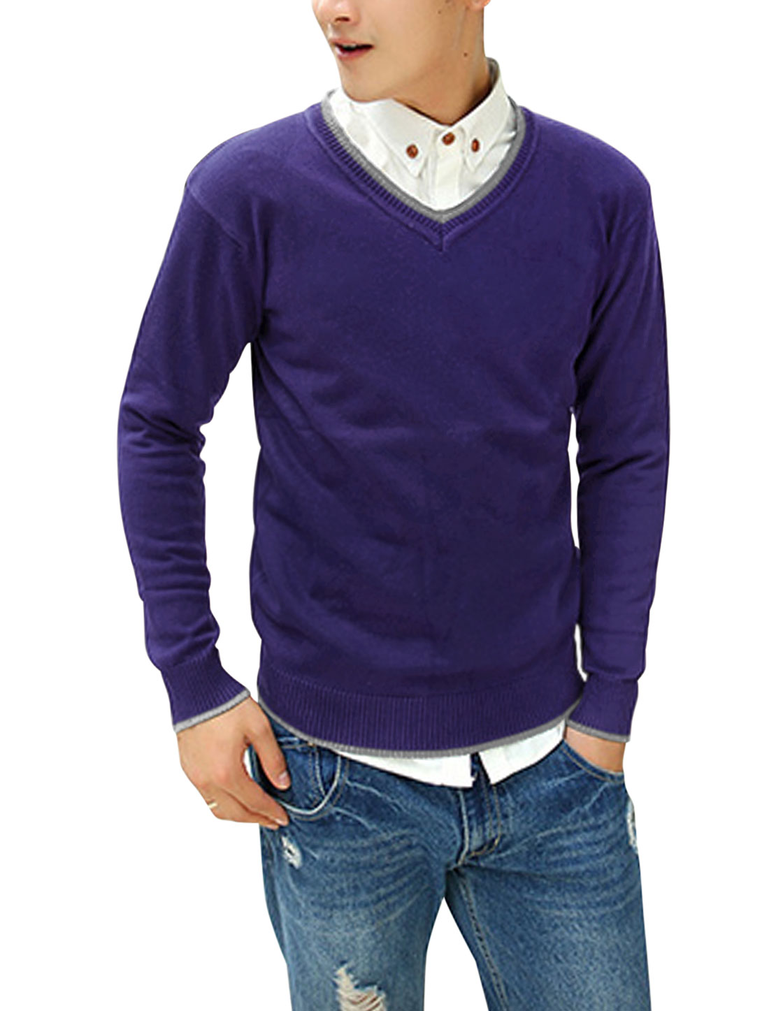Men Ribbed Trim Contrast Collar Patched Detail Casual Cozy Fit Sweater Purple M