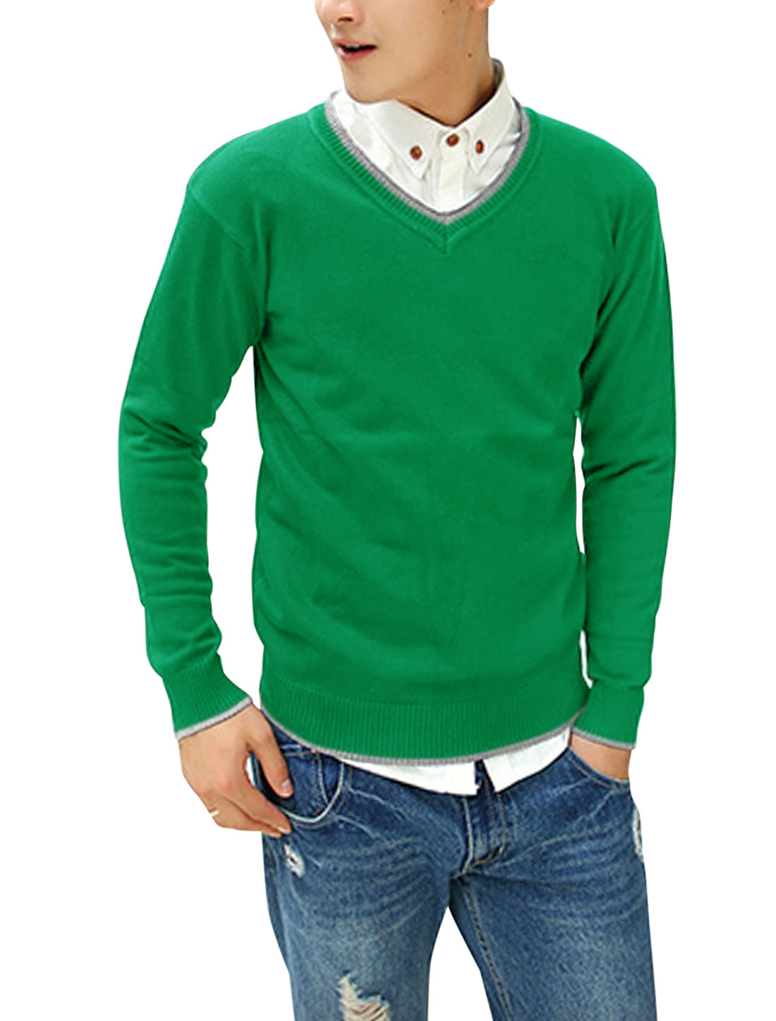 Men Ribbed Cuffs Contrast Collar Patched Detail Casual Cozy Fit Sweater Green M