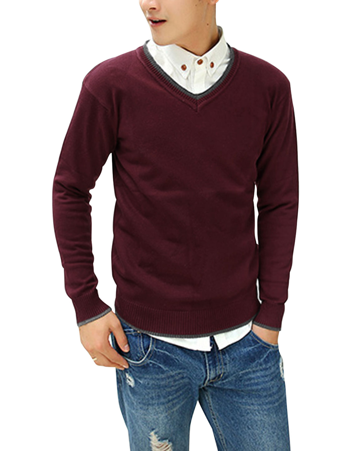 Men Ribbed Cuffs Contrast Collar Long Sleeves Casual Cozy Fit Sweater Burgundy M