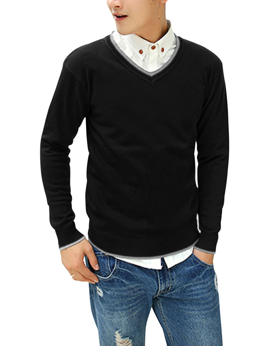 Men Ribbed Cuffs Contrast V Neck Long Sleeves Leisure Cozy Fit Sweater Black M