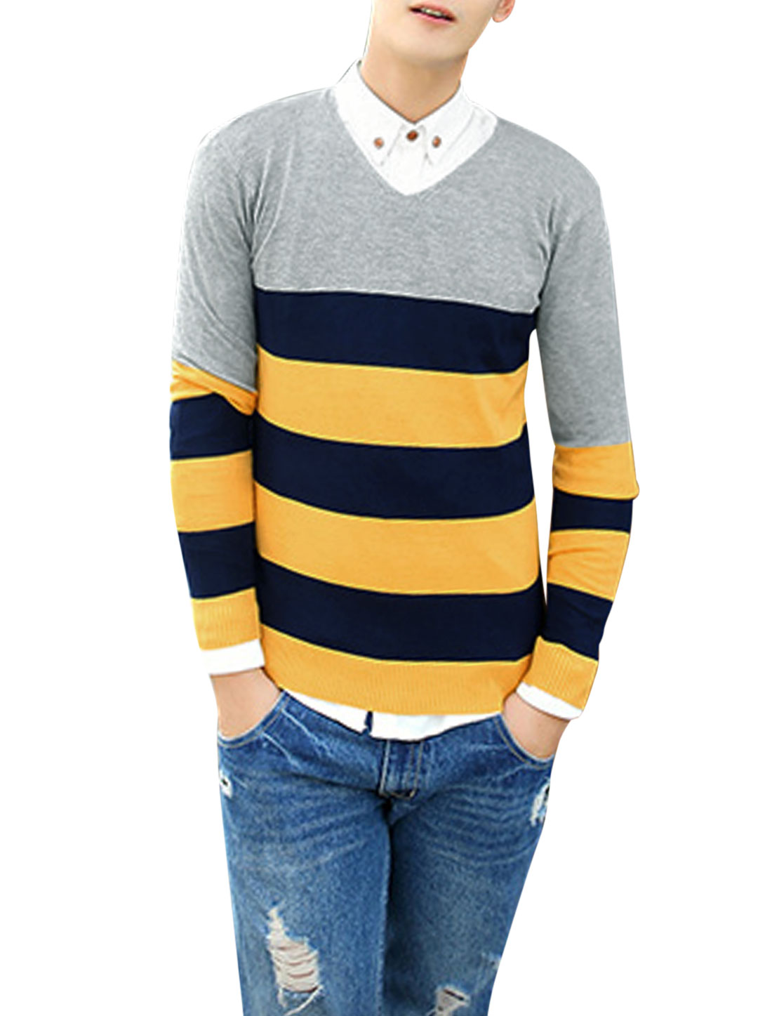 Men V Neck Stripes Color Block Slim Fit Knit Shirt Light Gray M