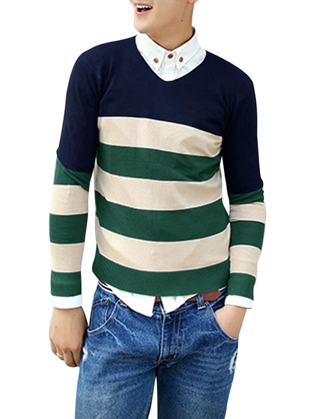 Men Long Sleeves Stripes Slipover Casual Navy Blue Knit Shirt M