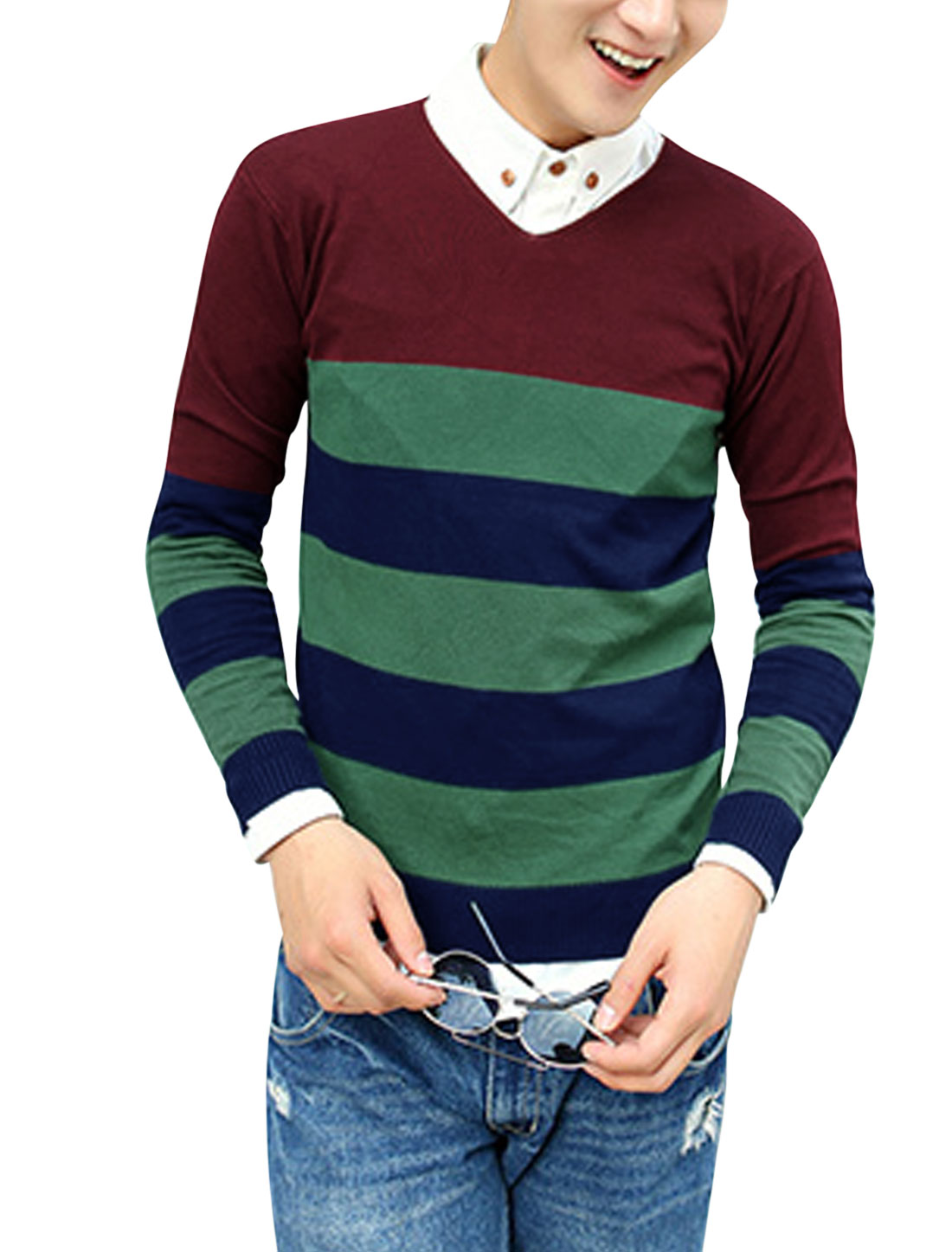 Color Blocking V Neck Stripes Stylish Burgundy Knit Shirt for Man M