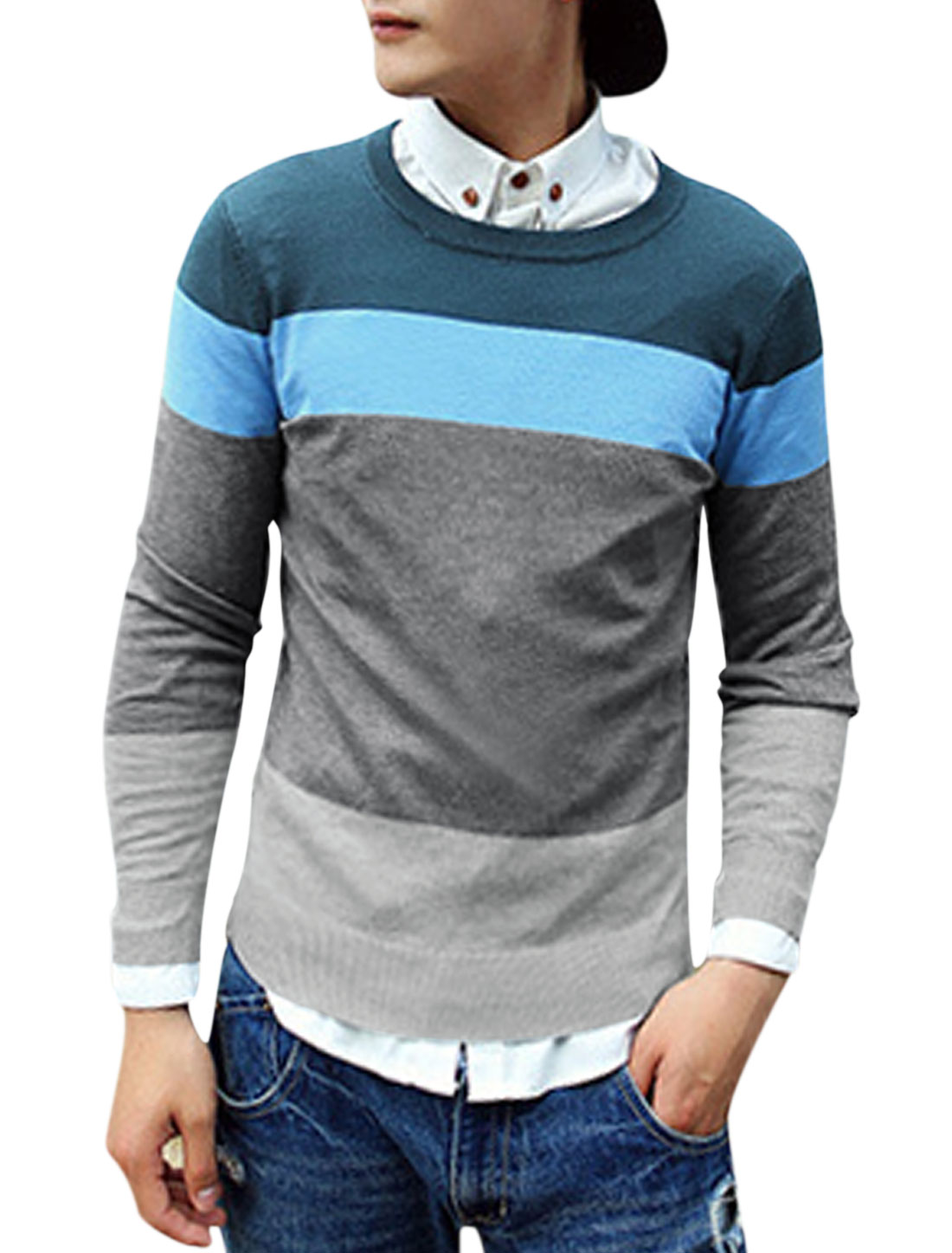 Men Round Neck Long Sleeves Contrast Color Chic Knitted Shirt Dark Gray M