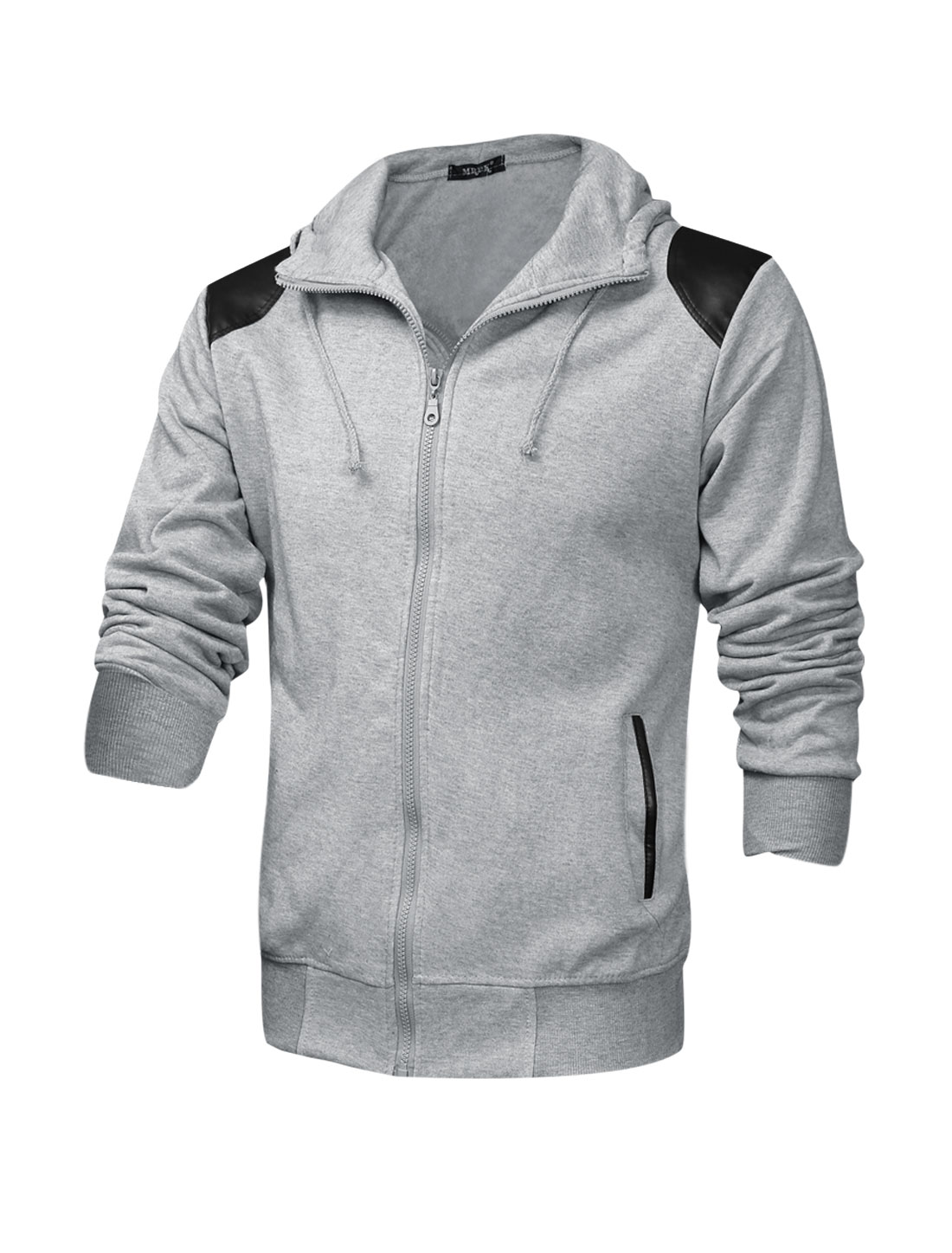 Men Drawstring Hooded Design Imitation Leather Panel Casual Jacket Light Gray M