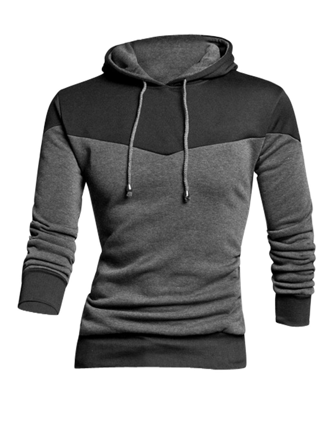 Men Long Sleeve Contrast Color Pullover Chic Sweatshirt Dark Gray M