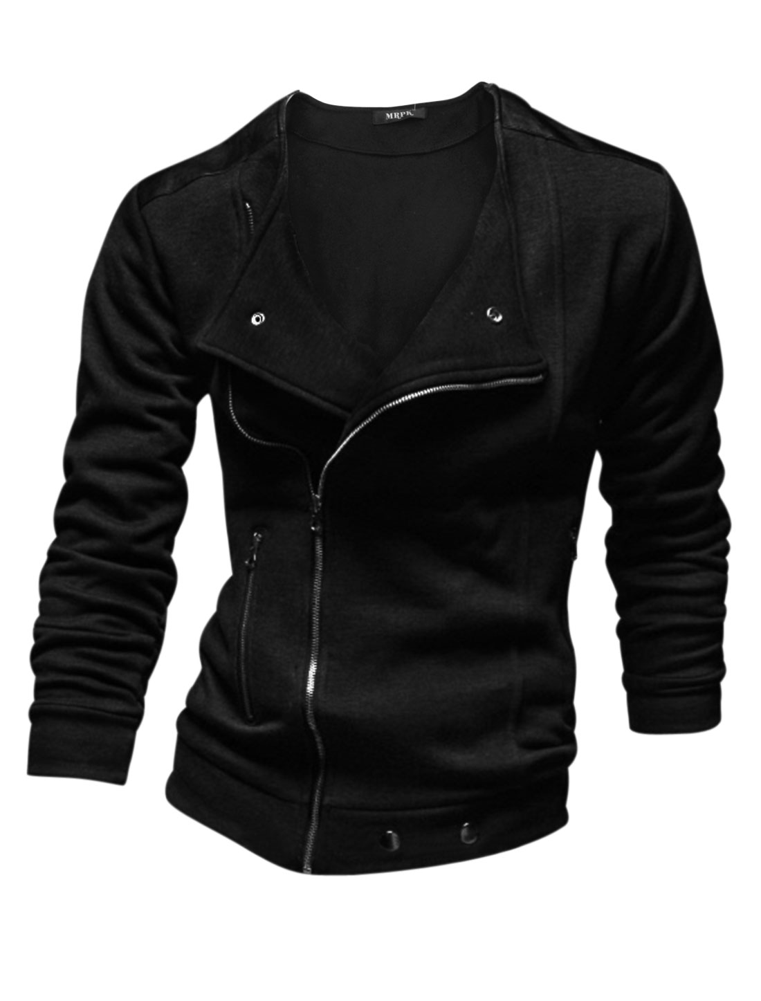 Men Convertible Collar Inclined Zipper Long Sleeve Chic Jacket Black M