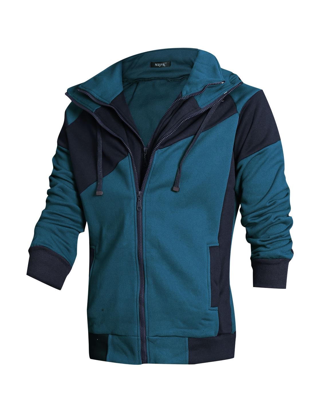Men Contrast Color Double Zip Up Long Sleeve Jacket Navy Blue M