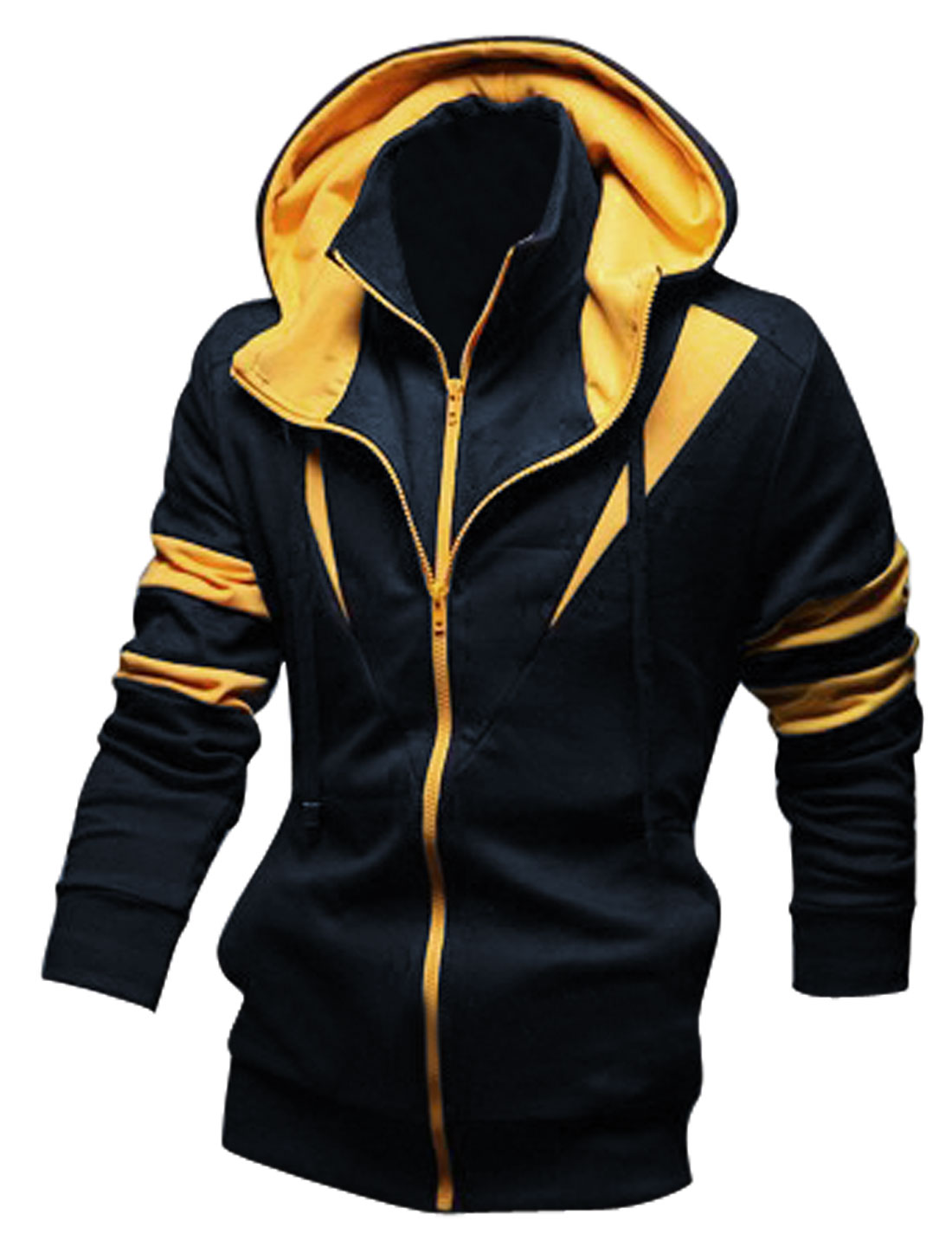 Men Navy Blue Double Zipper Convertible Collar Drawstring Hooded Jacket M