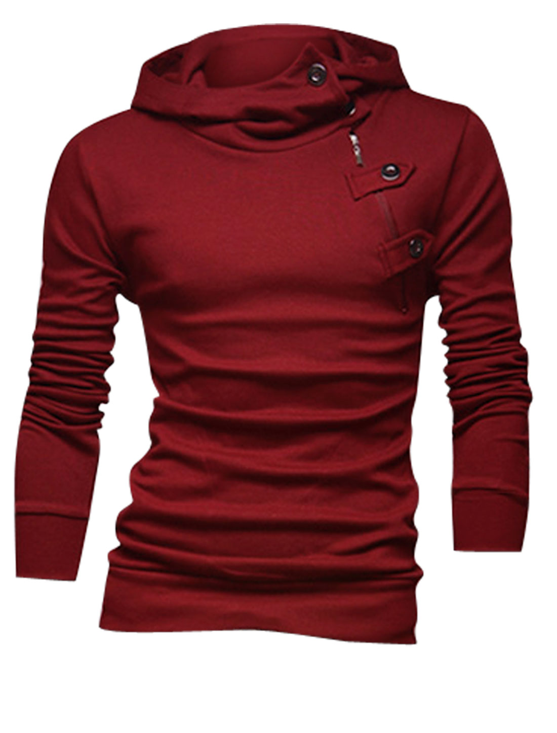 Men Two Side Pockets Button Upper Casual Hooded Sweatshirt Burgundy M