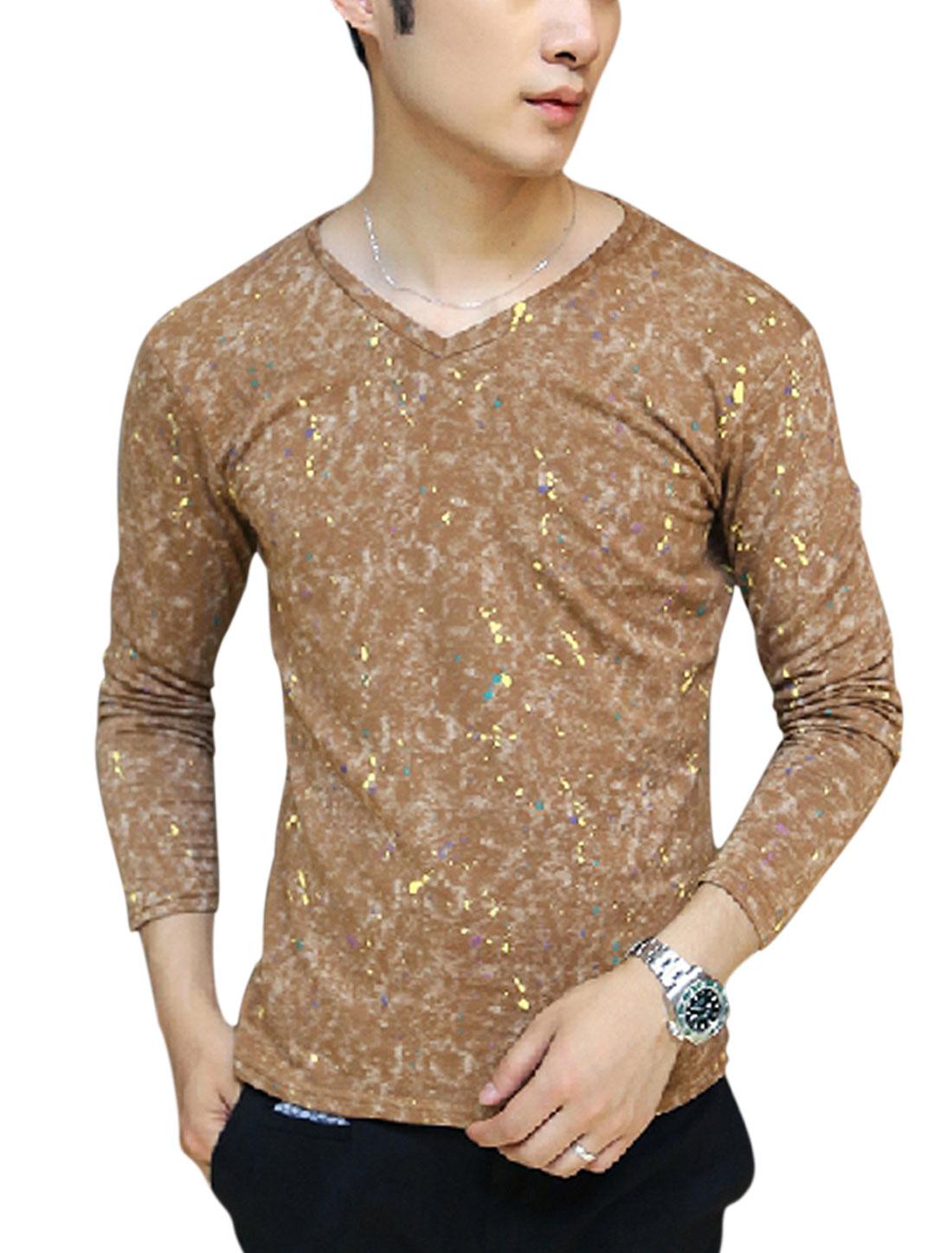 Men Dots Printed Dye Design V Neck Casual T-shirt Brown M