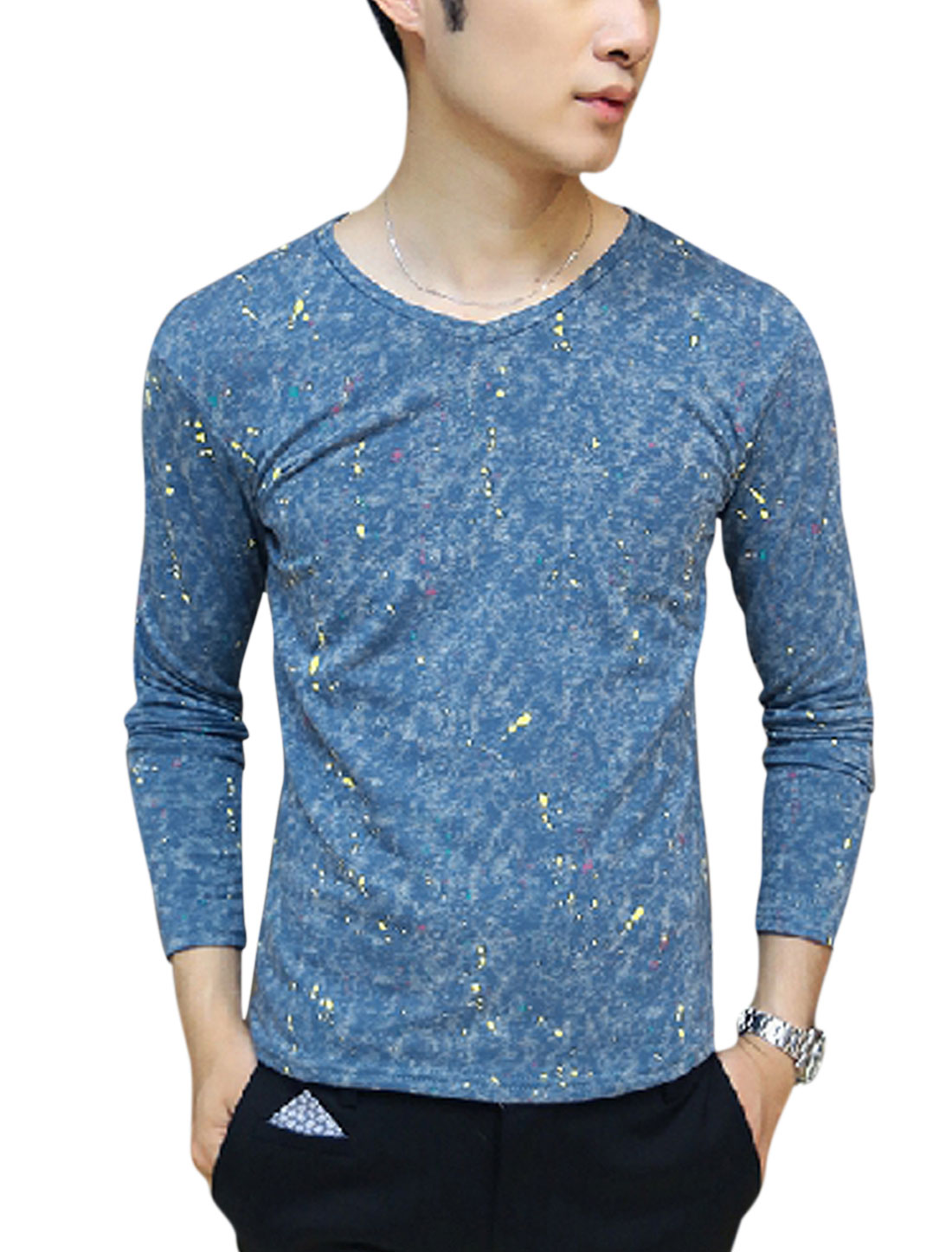 Men Dots Printed Dye Design Pullover Slim Fit T-shirt Blue M