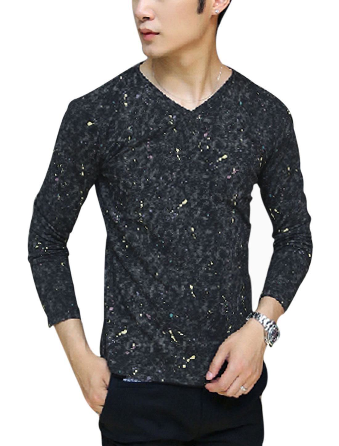 Men Dots Printed Dye Design Pullover Slim Cozy T-shirt Black M