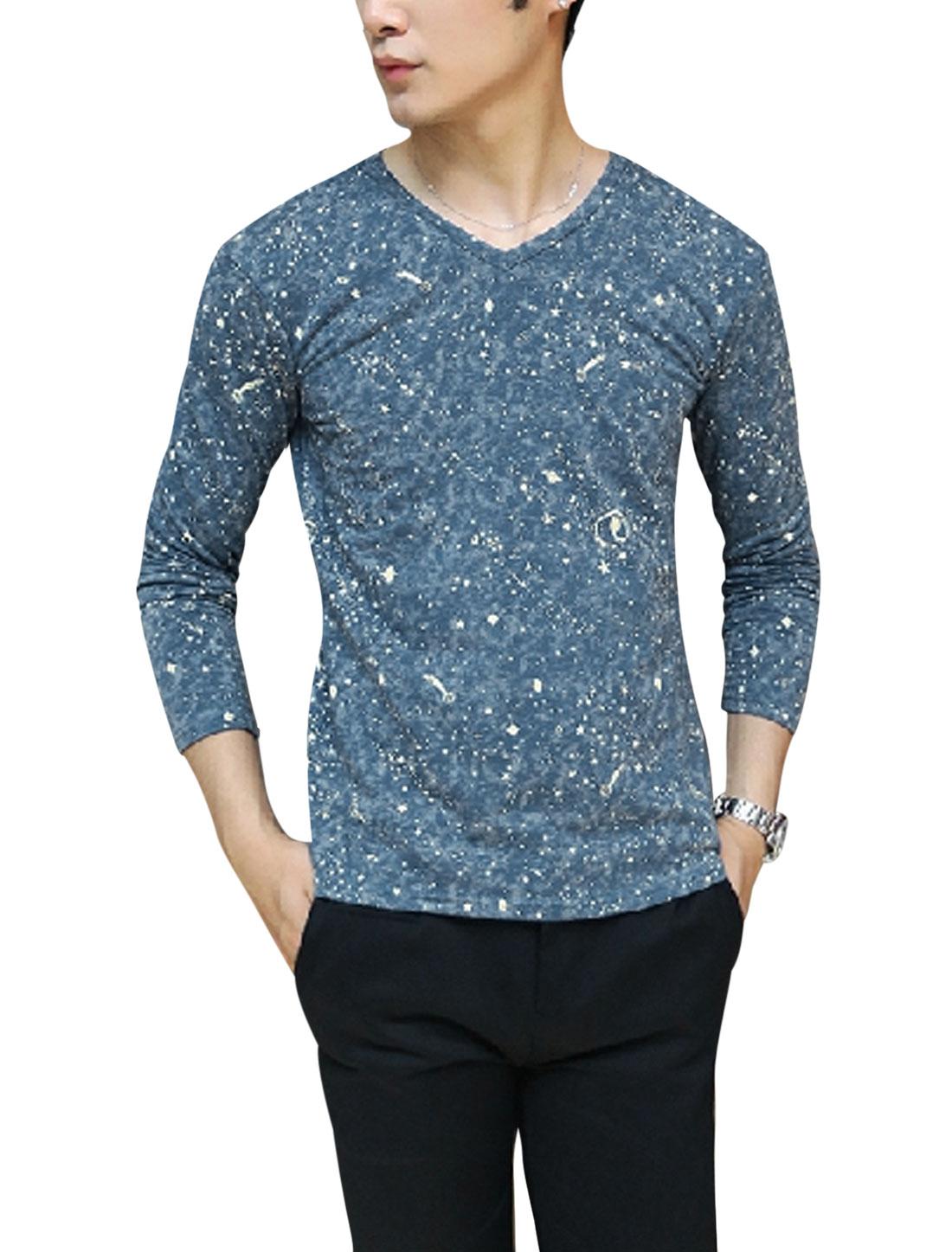 Men Starry Sky Printed V Neck Long Sleeves Cozy Fit T-shirt Blue M
