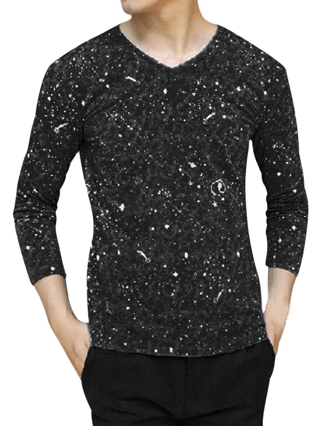 Men Starry Sky Printed V Neck Long Sleeves Leisure T-shirt Black M
