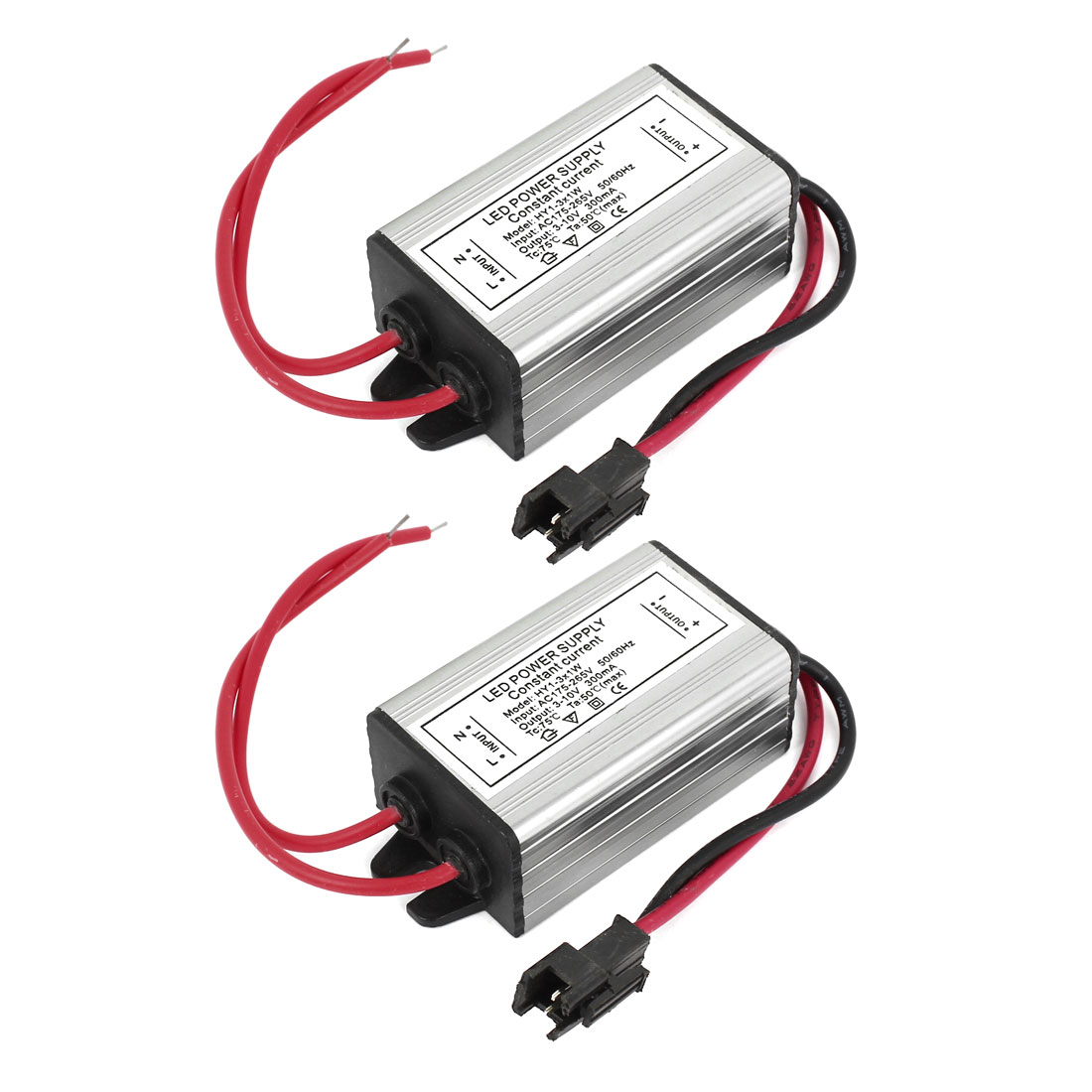 2 Pcs Waterproof LED Driver Power Supply Adapter AC 175-265V to DC 3-10V 300mA 1-3x1W