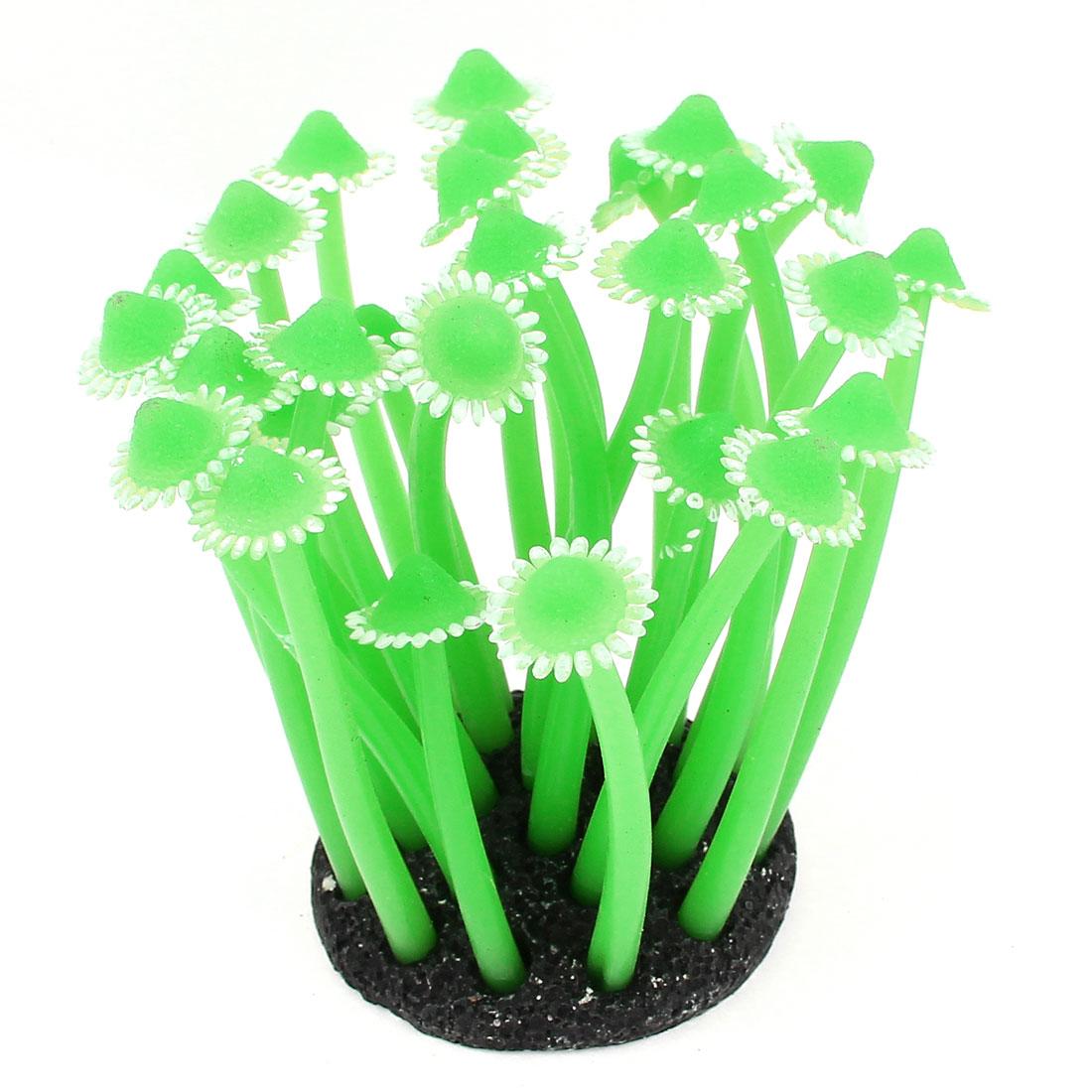 "3.5"" High Soft Silicone Aquarium Fish Tank Underwater Coral Decoration Green"