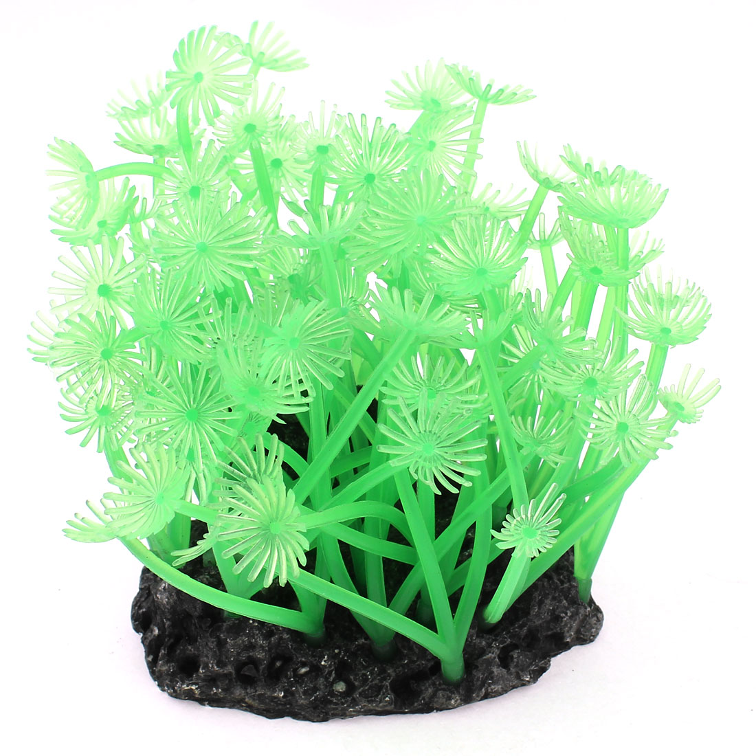 "3.6"" Height Soft Silicone Aquarium Fish Tank Underwater Coral Ornament Green"