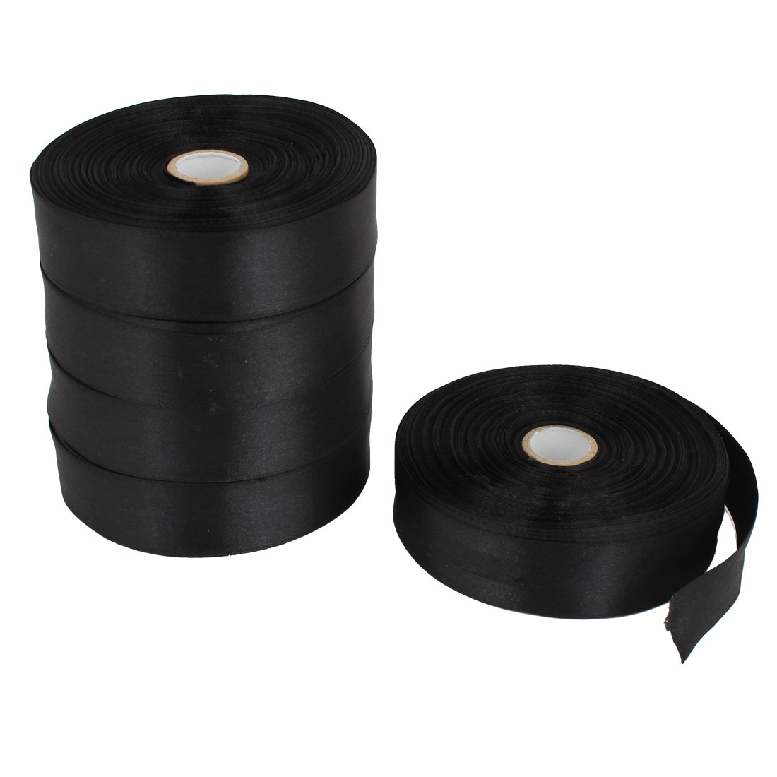 5 Pcs Black 2.5cm Width DIY Craft Wedding Party Sewing Decor Ribbon Roll Tape 250 Yard 229M