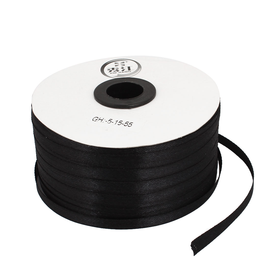 Black 0.6cm Width DIY Craft Gift Package Polyester Ribbon Roll Tape 230 Yard 210m Length