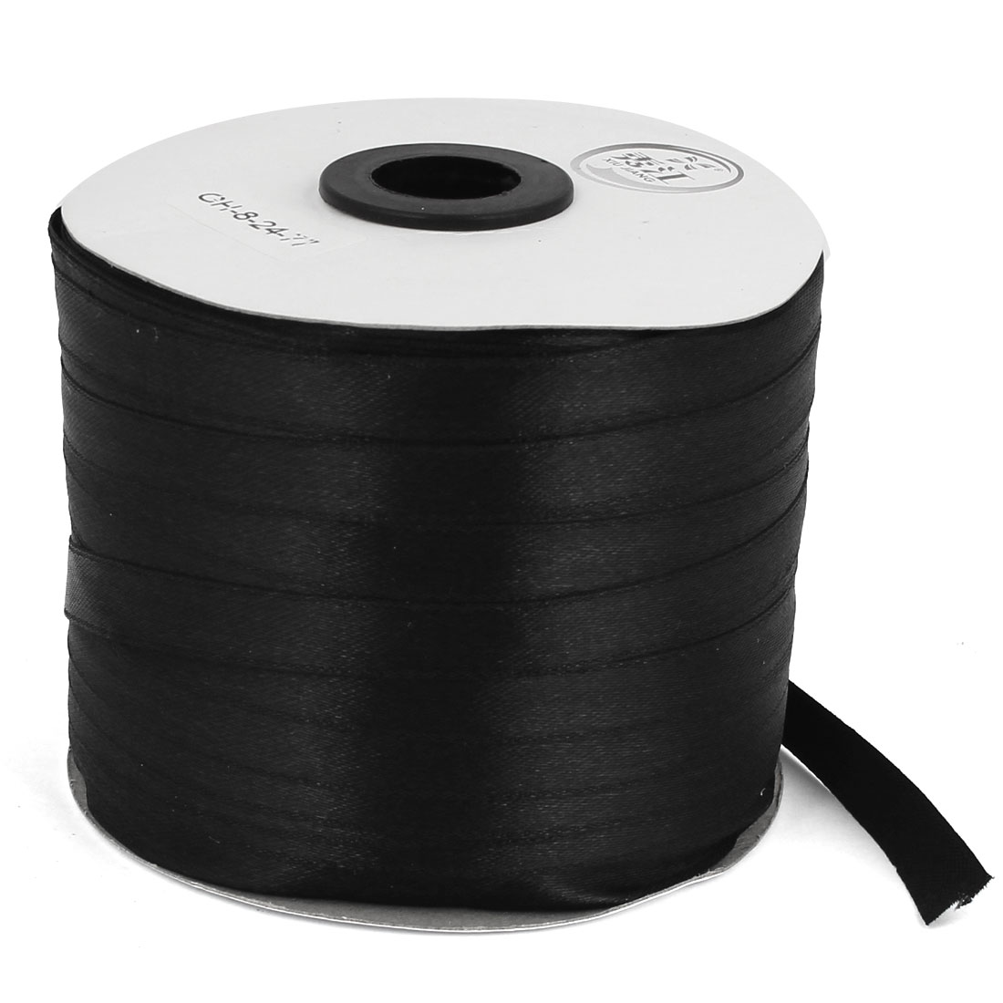 Black 1cm Width DIY Craft Gift Package Polyester Ribbon Roll Tape 230 Yard 210m