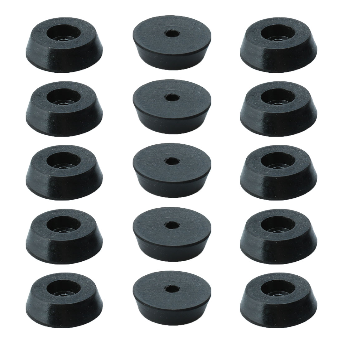 15 Pcs Black Rubber Furniture Desk Foot Pads 18mm Dia