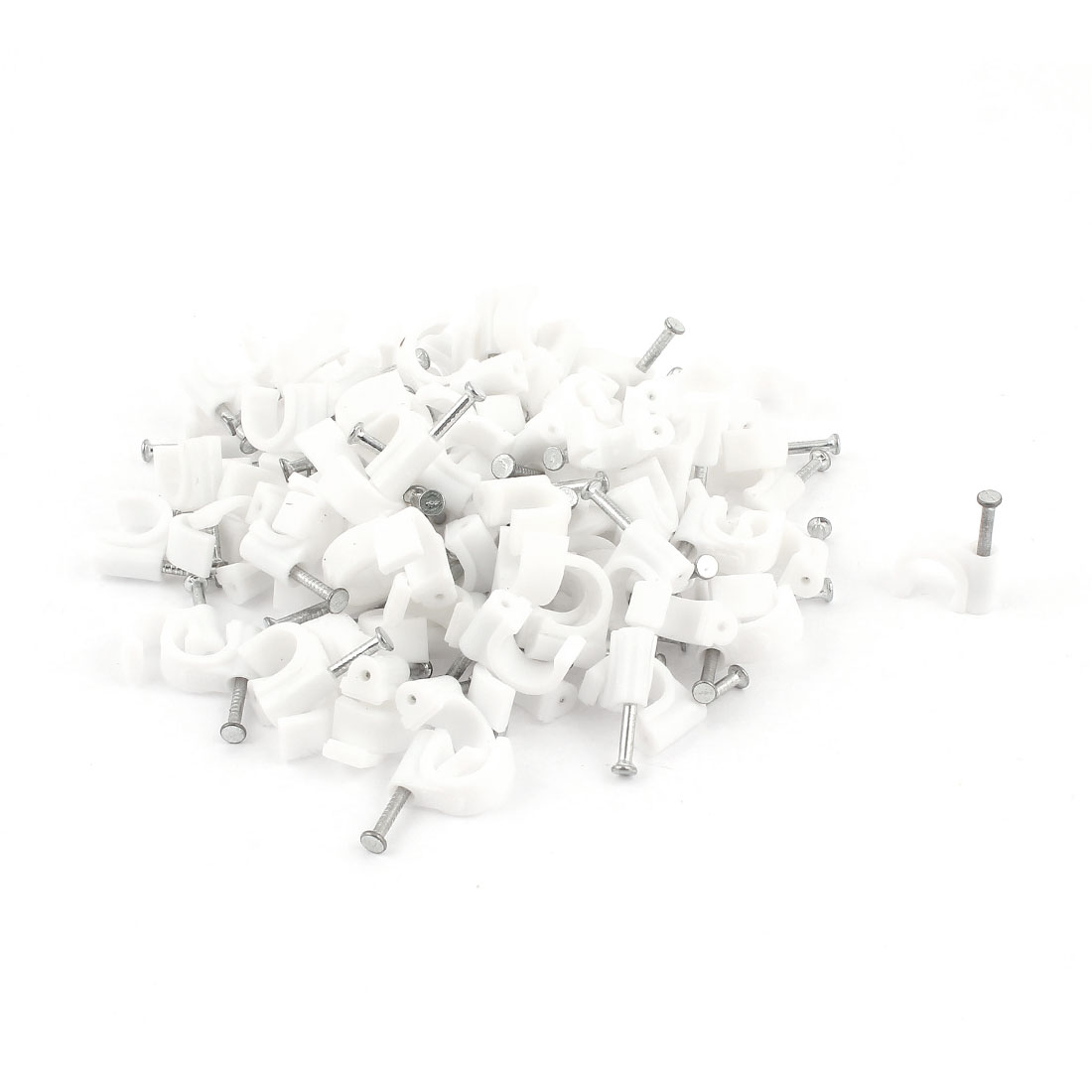 100 Pcs PVC 8mm Cable Wire Tubing Pipe C Clamps Nail Clips White