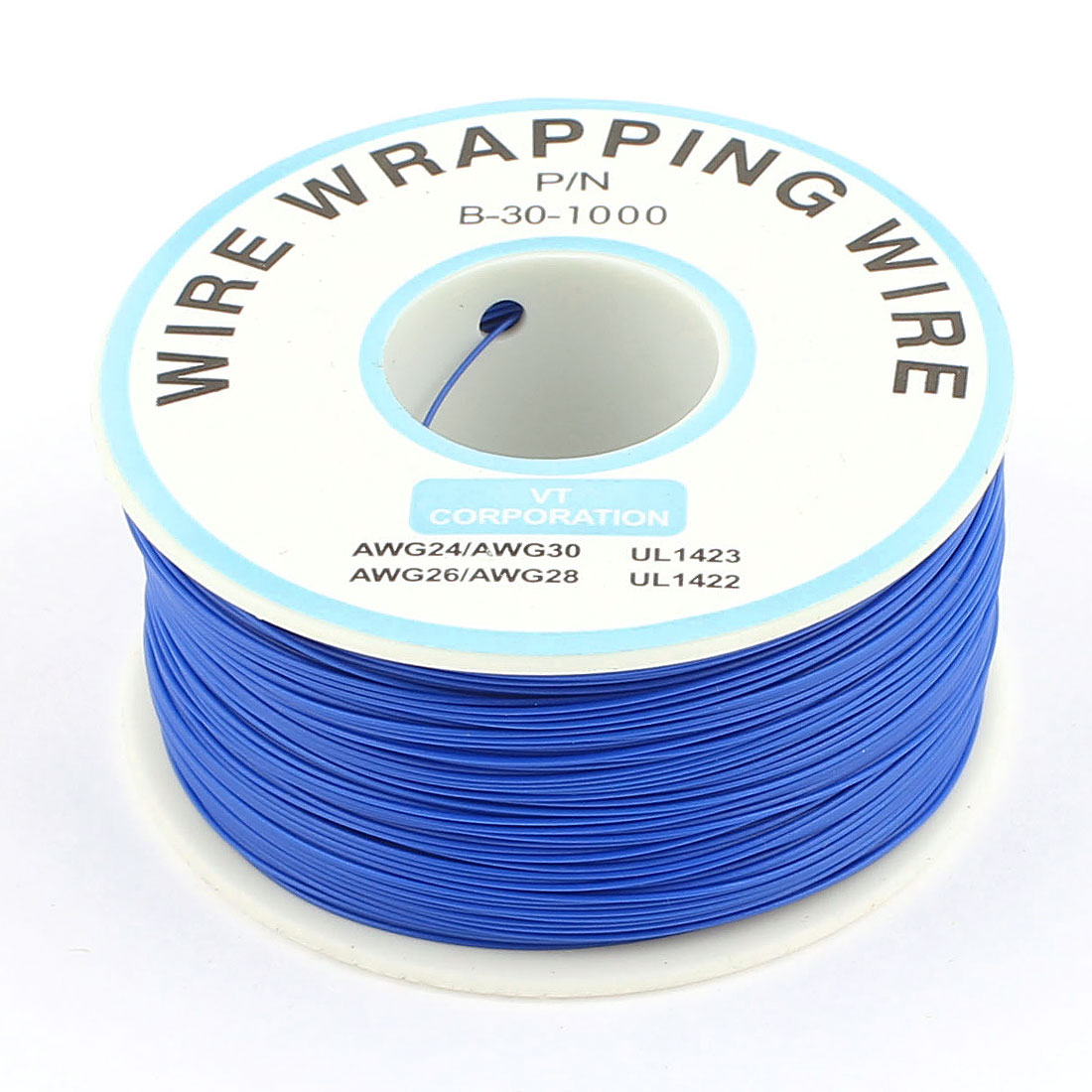 305M P/N B-30-1000 30AWG PCB Solder Blue Tin Plated Wire-Wrapping Wire