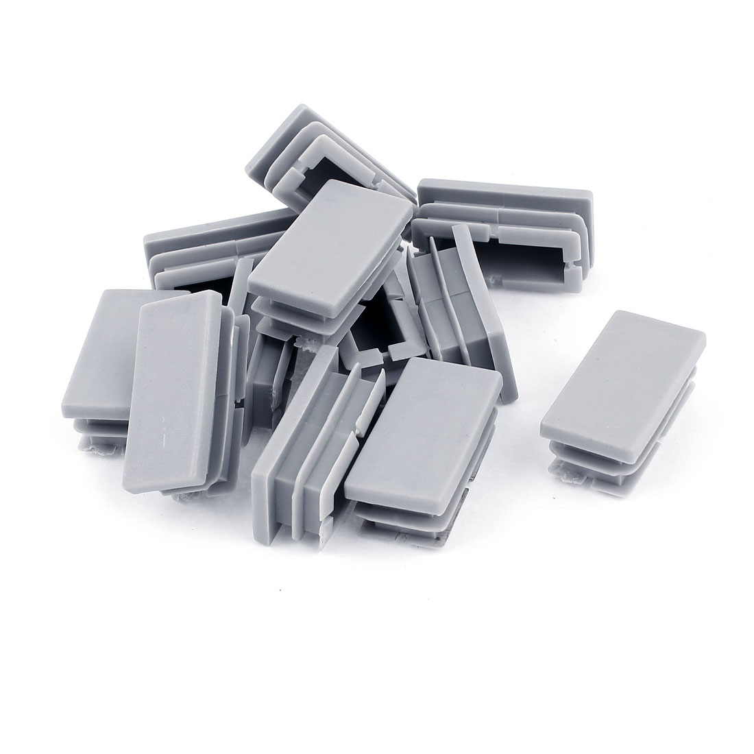 20mm x 40mm Plastic Rectangle Shaped End Cup Tube Insert Gray 12 Pcs
