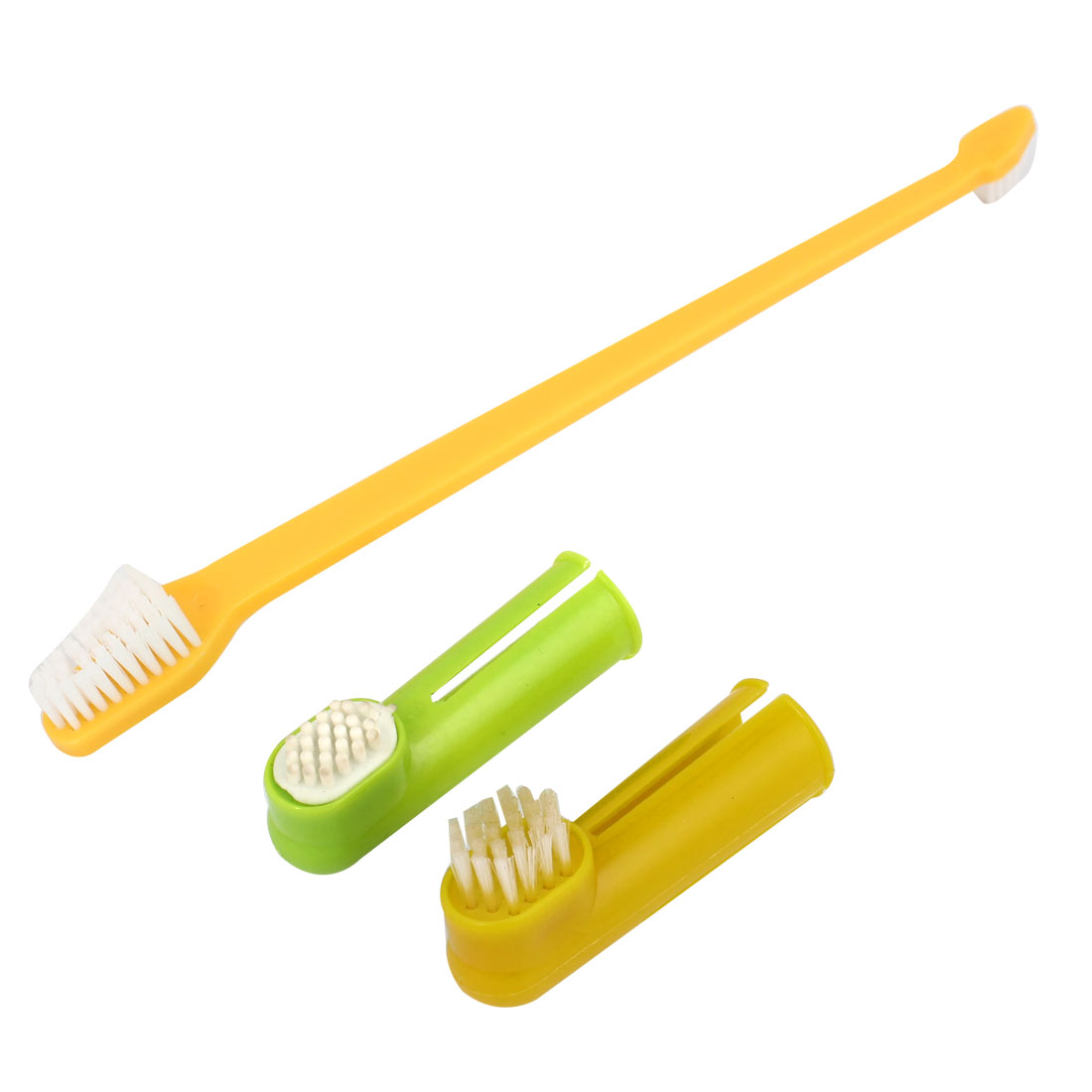 3 in 1 Set Pet Dog Doggy Long Handle Dual Headed Tooth Bristle Brush Finger Brushes Green Yellow