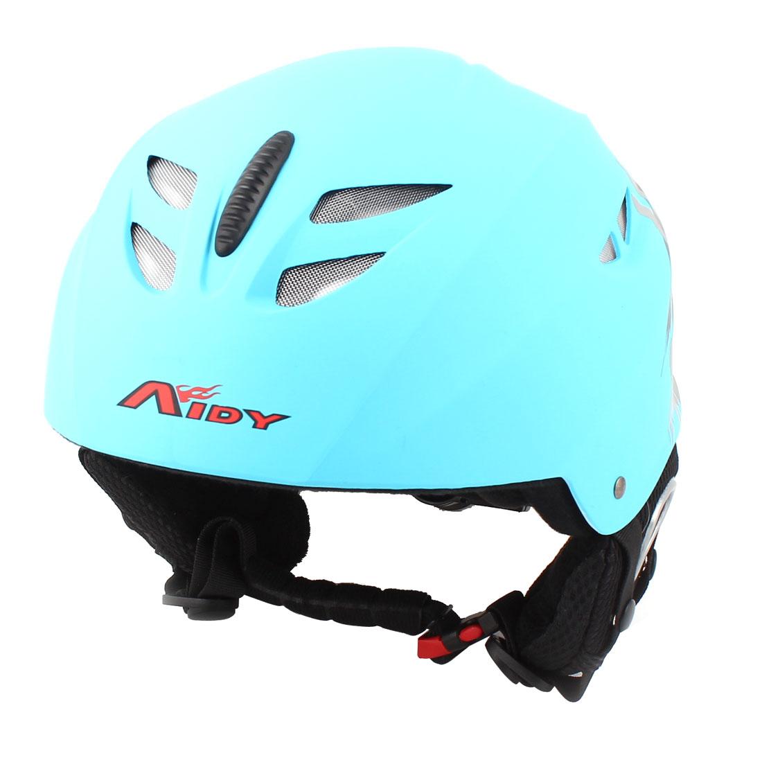 Adults Hand Printed Sponge Earflap Skiing Protective Helmet Blue