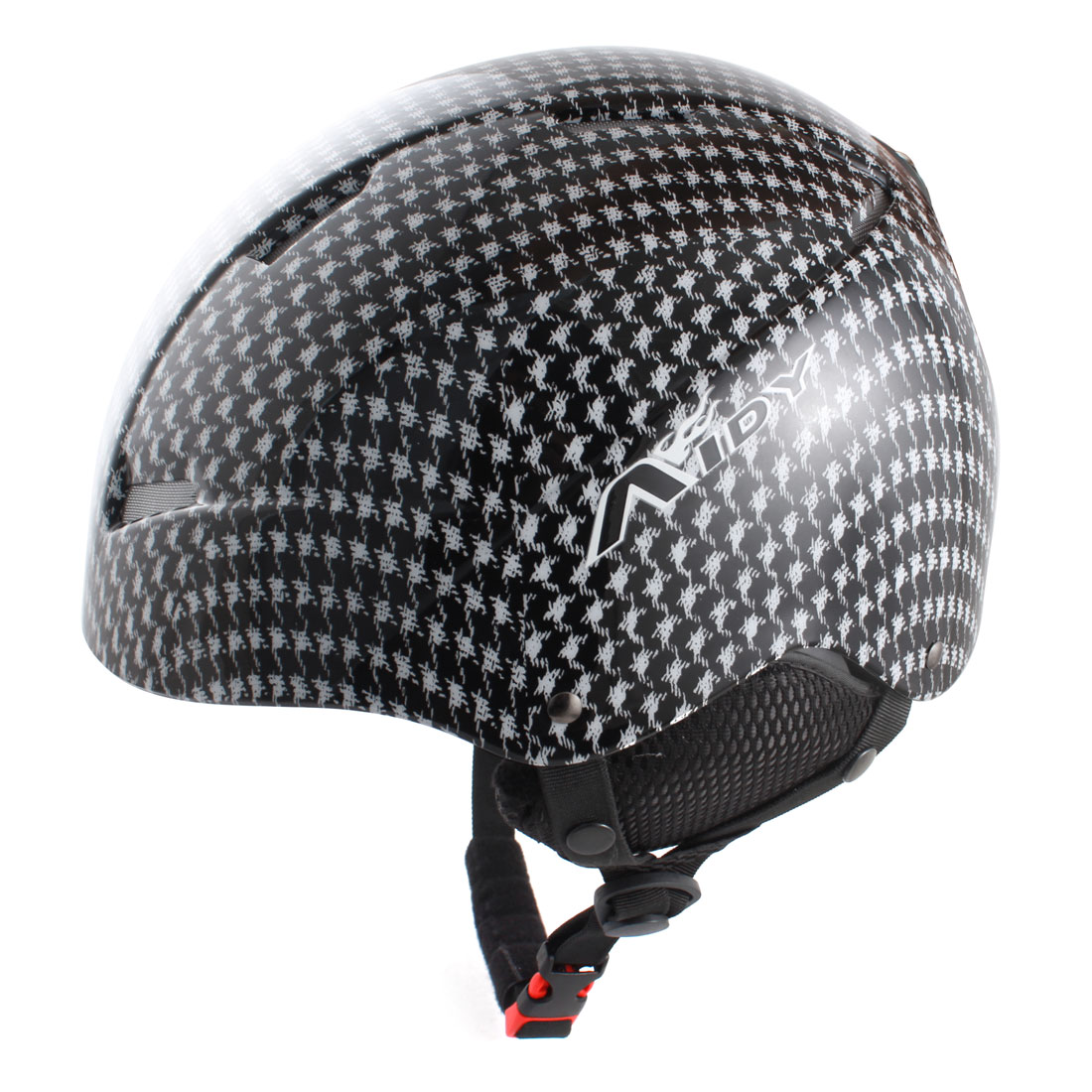Adults Houndstooth Printed Cycling Ski Skating Protective Helmet Black White