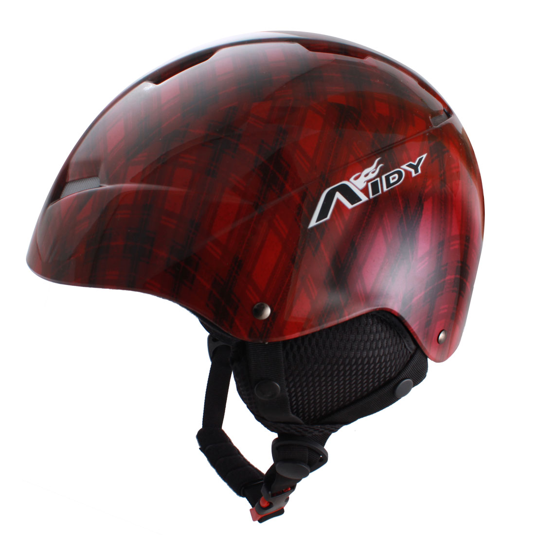 Adults Grid Printed Cycling Ski Skating Protective Helmet Red Black