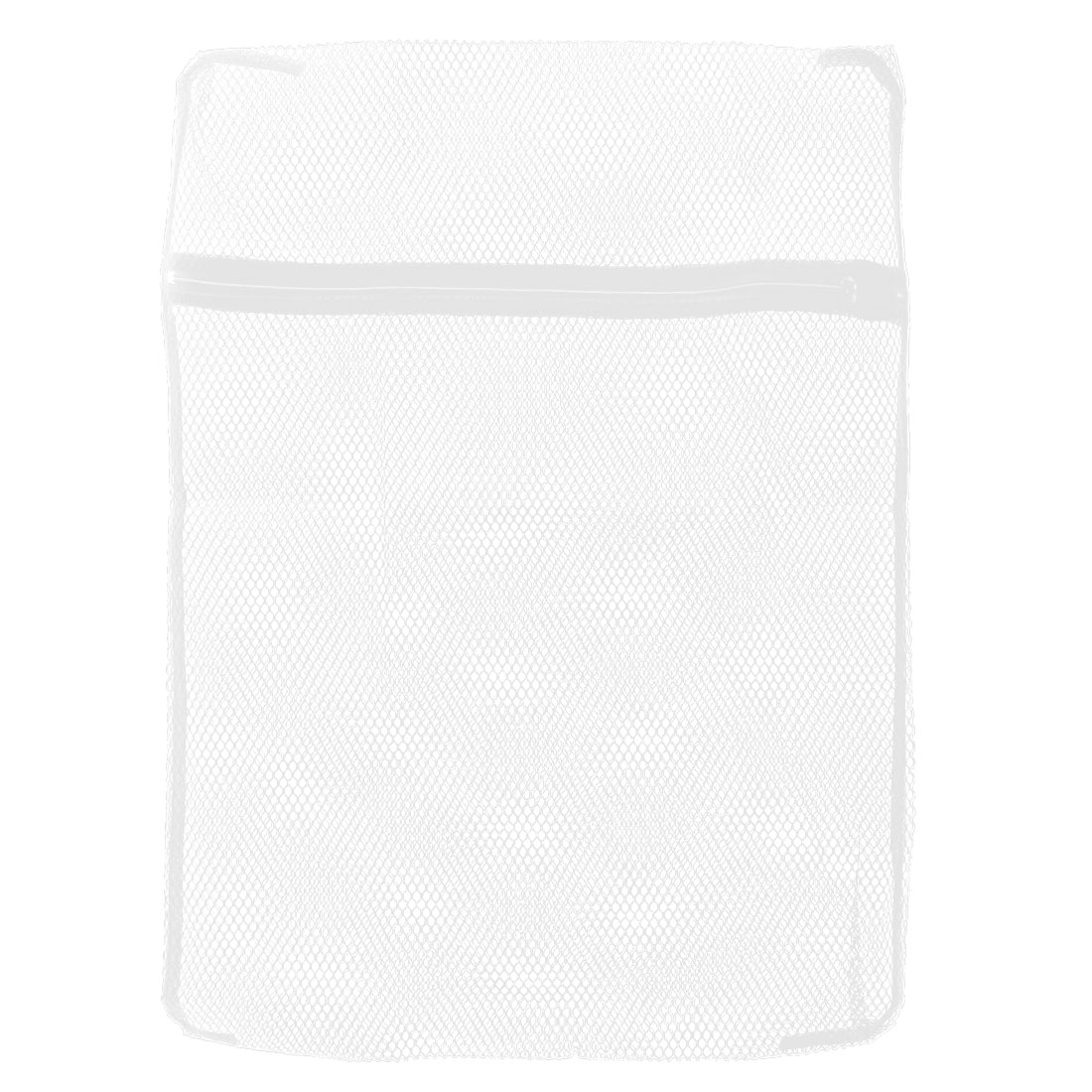 White Nylon Net Style Zippered Closure Protective Washing Bag 40 x 50cm