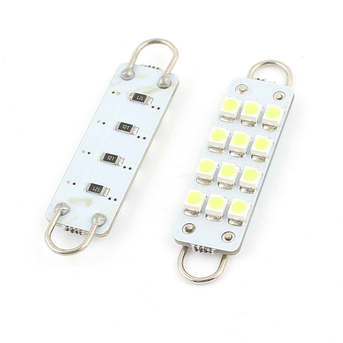 "2PCS 44mm 1.7"" 1210 12 SMD Rigid Loop White Festoon LED Light Bulbs 12844 Internal"