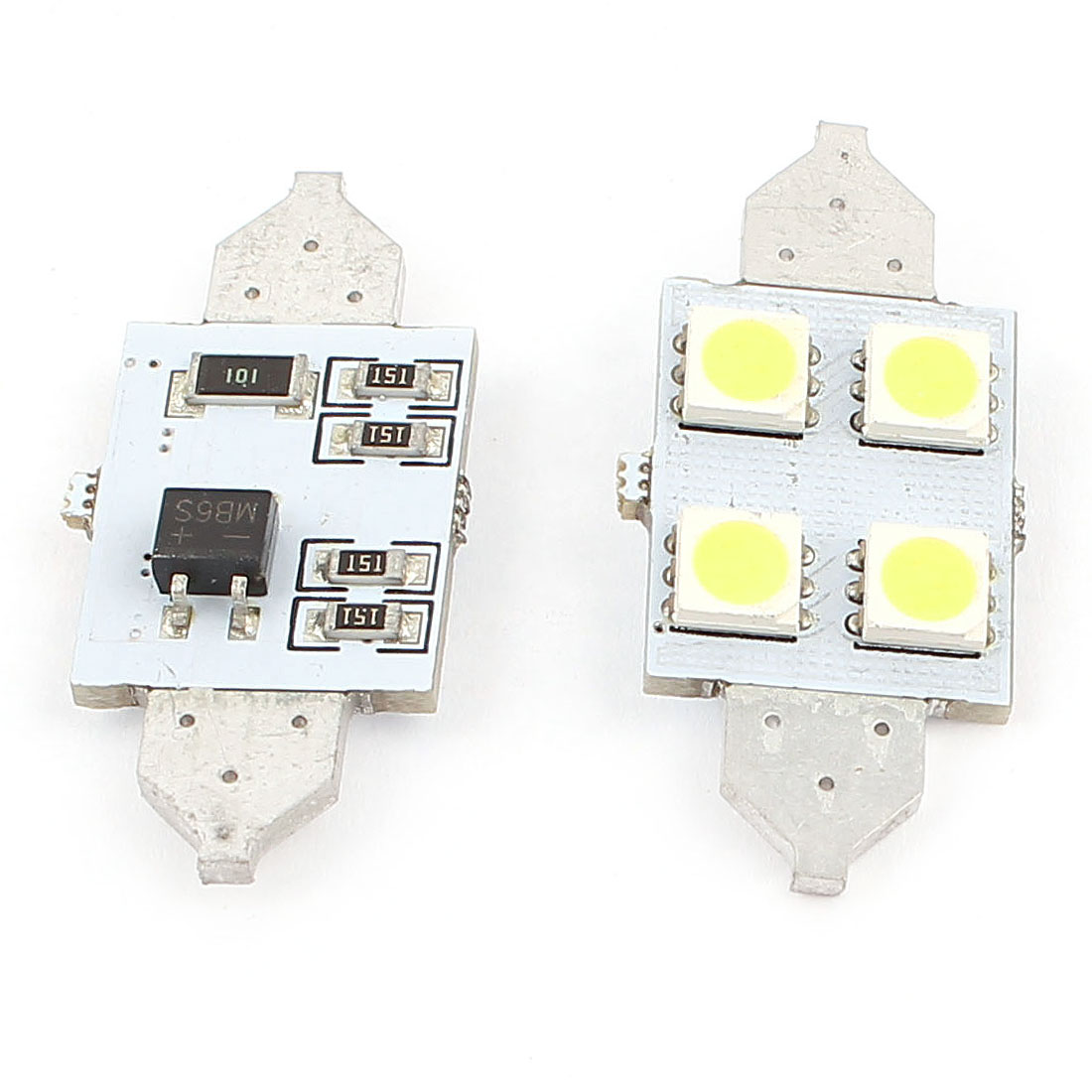 2 Pcs 36mm 4 LED 5050 SMD White Dome Festoon Car Light Lamp 3022 DE3175 Internal