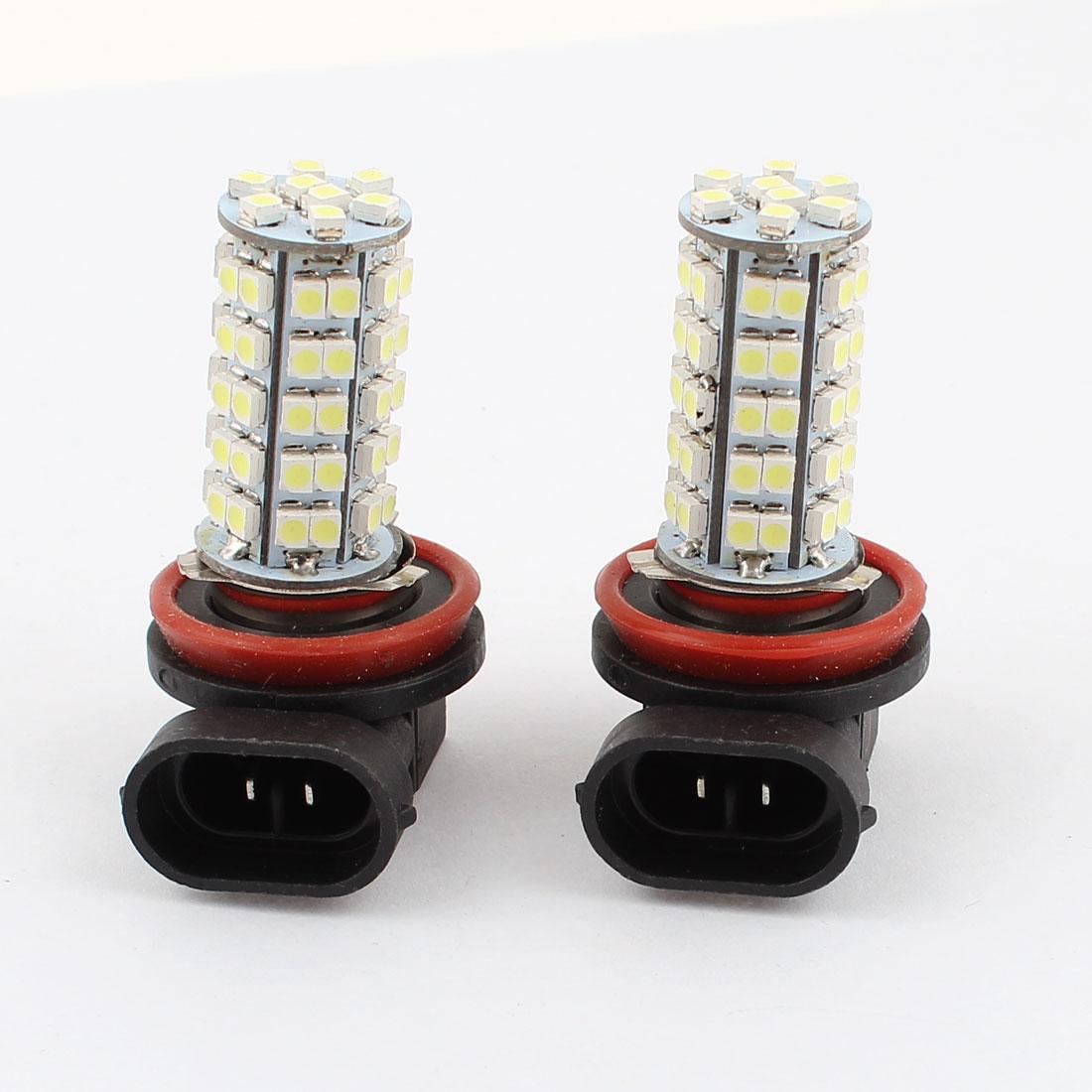 Car H11 Socket 1210 3528 SMD 68 LED White Foglight Light Lamp DC 12V 2 Pcs